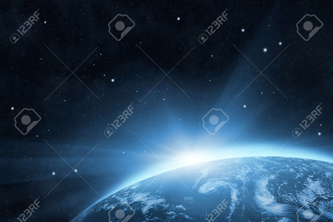 Blue planet Earth with bright sunrise in the space Stock Photo - 14232473