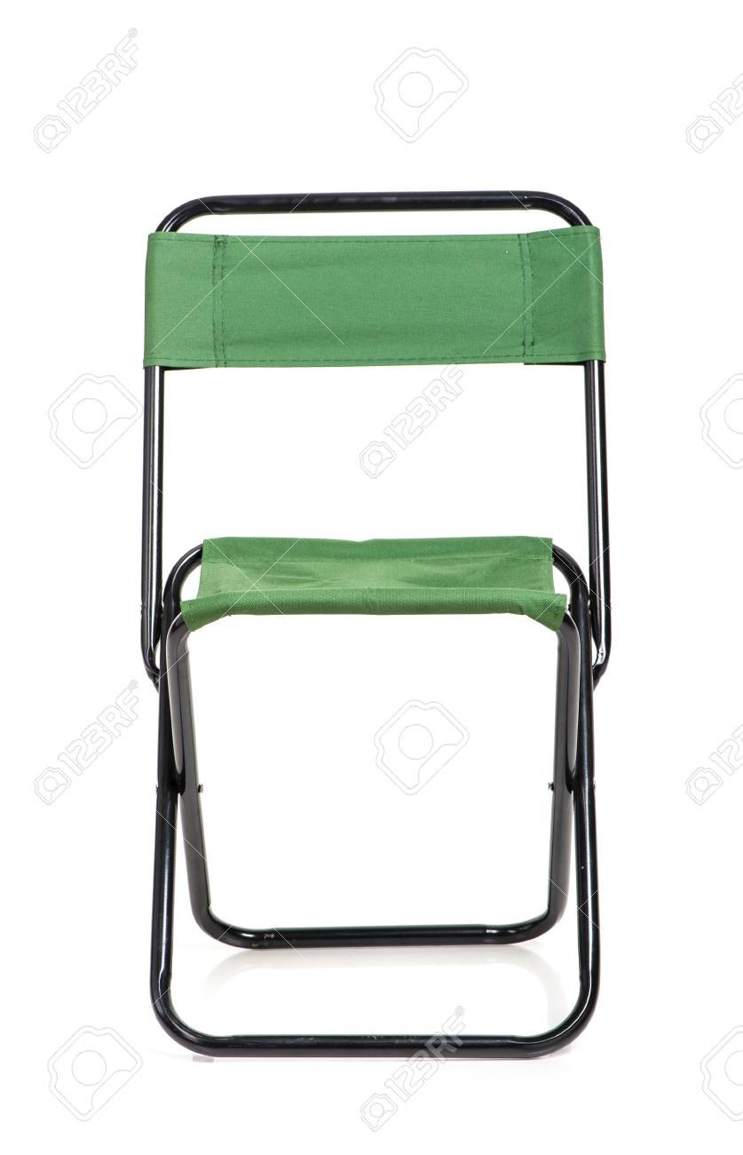 Folding Chair With Green Fabric Isolated On White Background