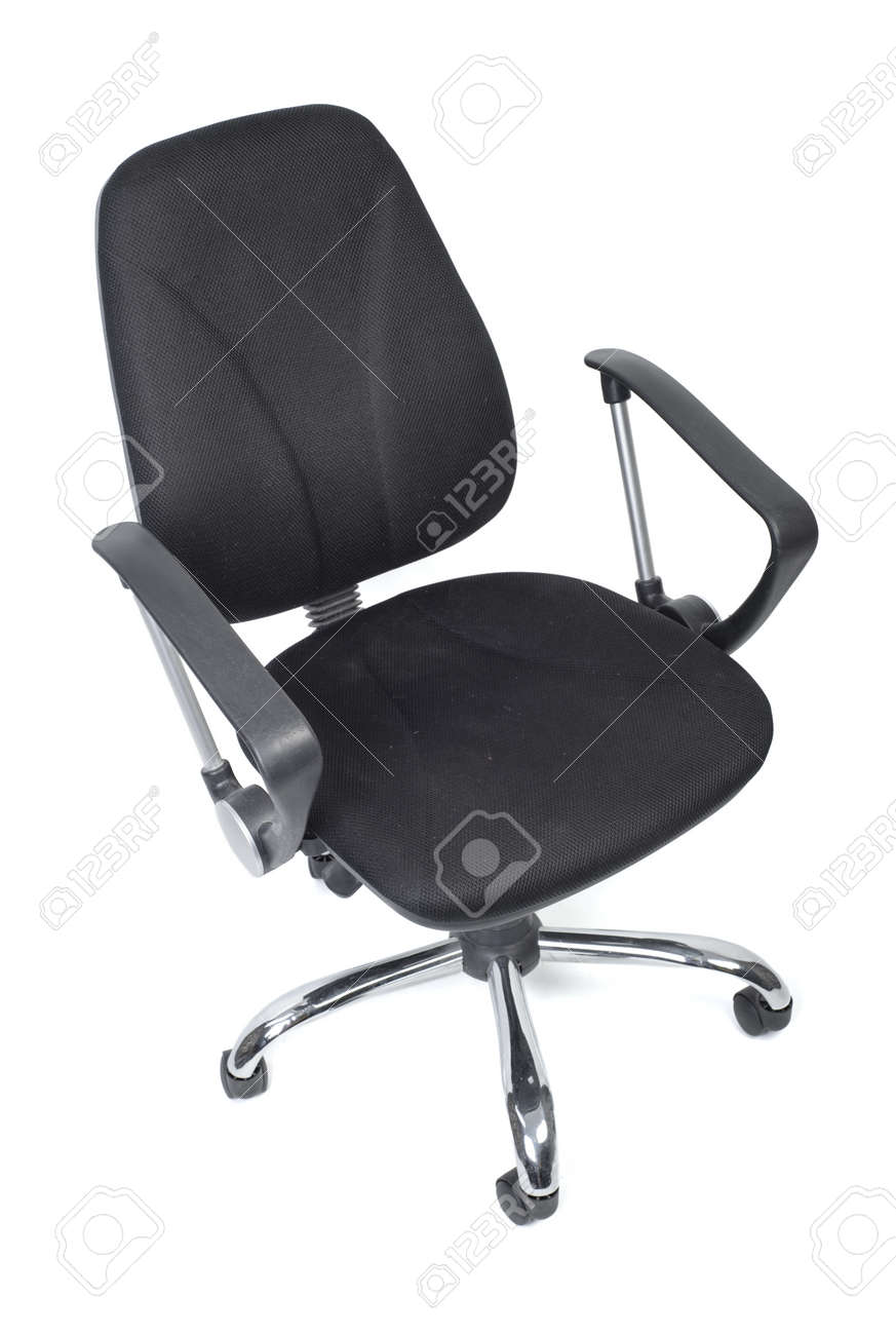 Chair With Wheels >> Black Cloth Office Chair With Wheels Isolated On White Background