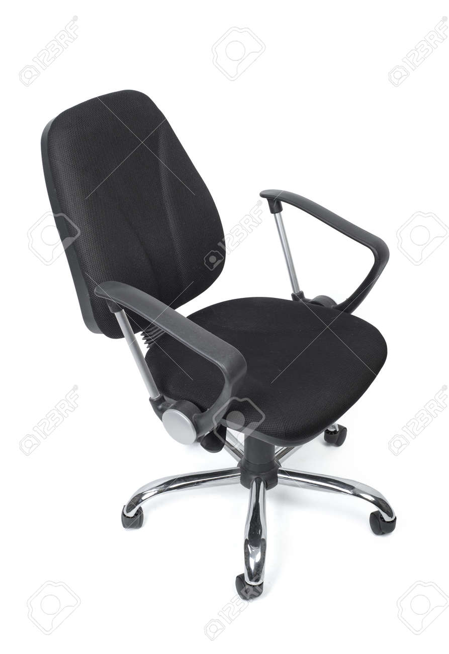 Black cloth office chair with wheels isolated on white background