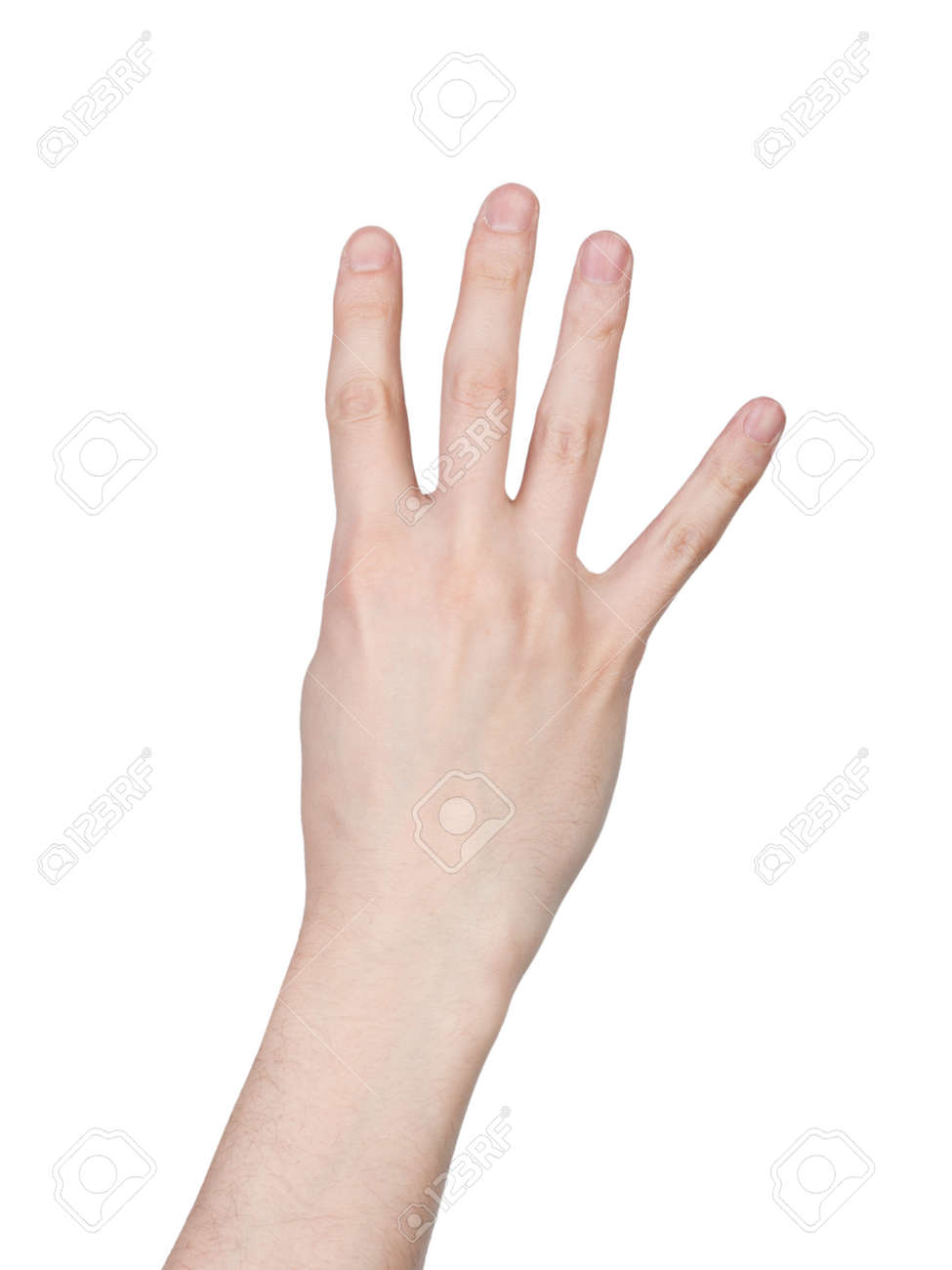 Male hand finger number isolated on white background - 122398206