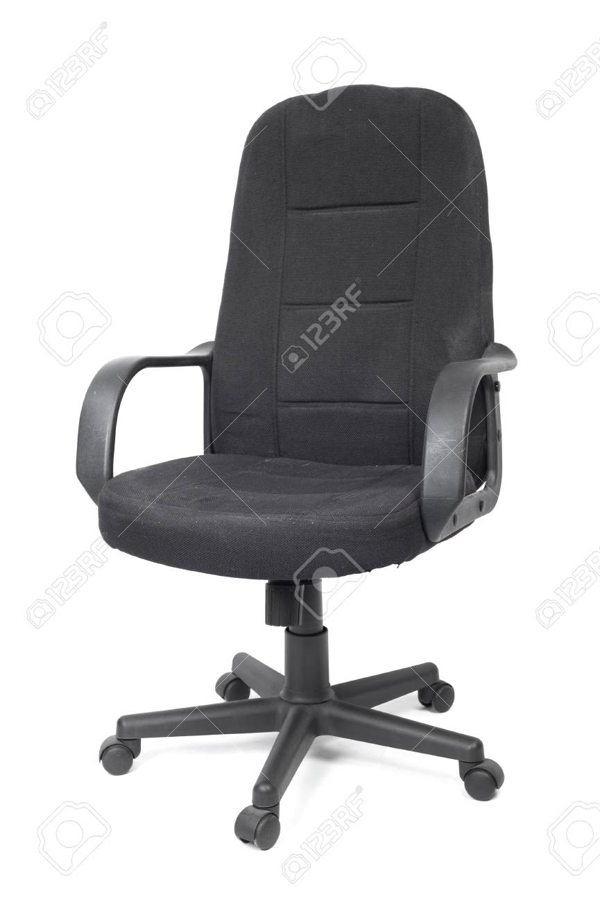 Chair With Wheels >> Black Used Textile Office Chair With Wheels Isolated On White