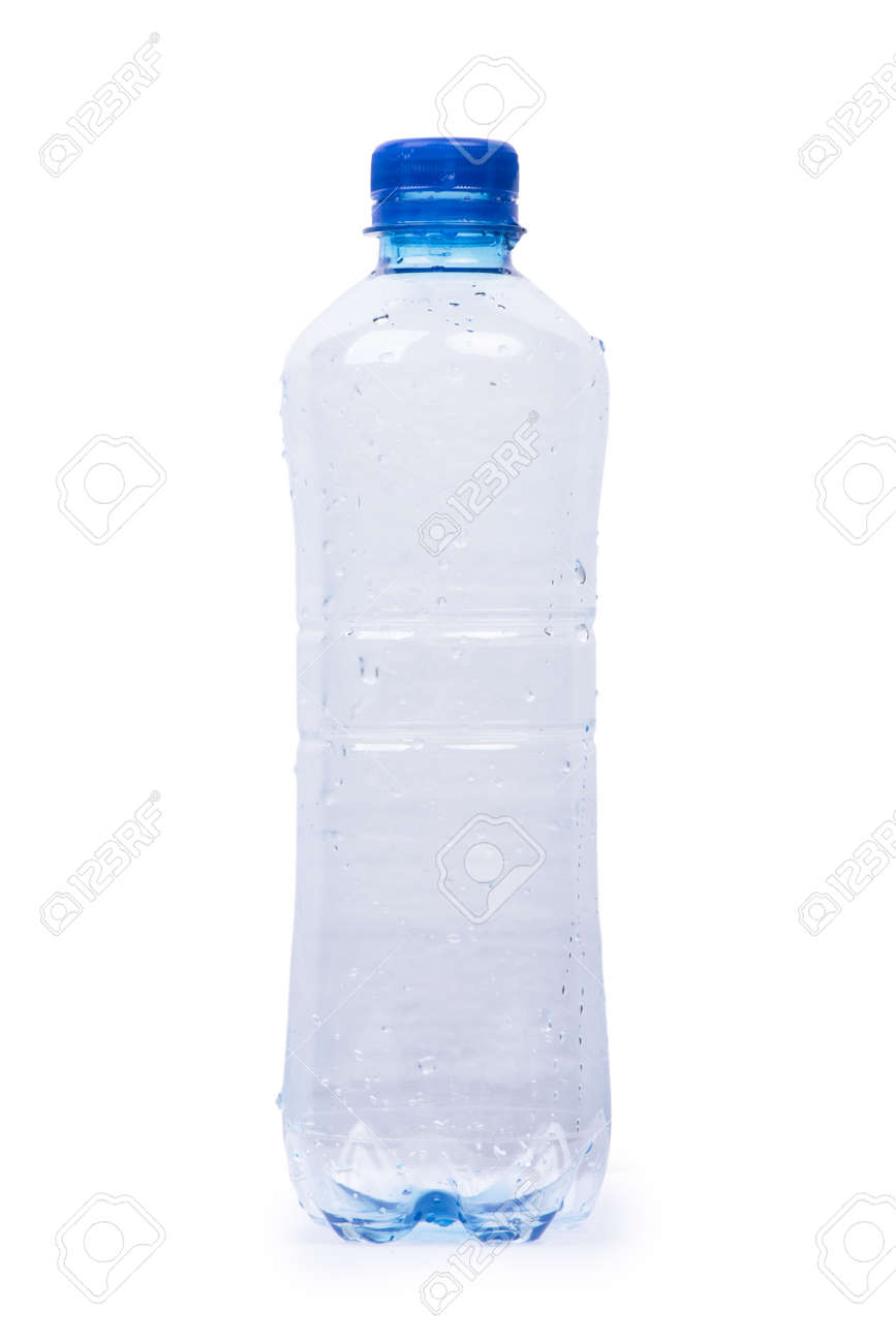 Empty plastic bottle with dew isolated on white background - 155226765