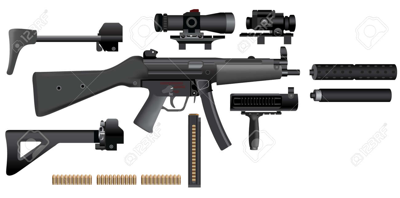 sub-machine gun heckler mp5 Stock Vector - 7552714