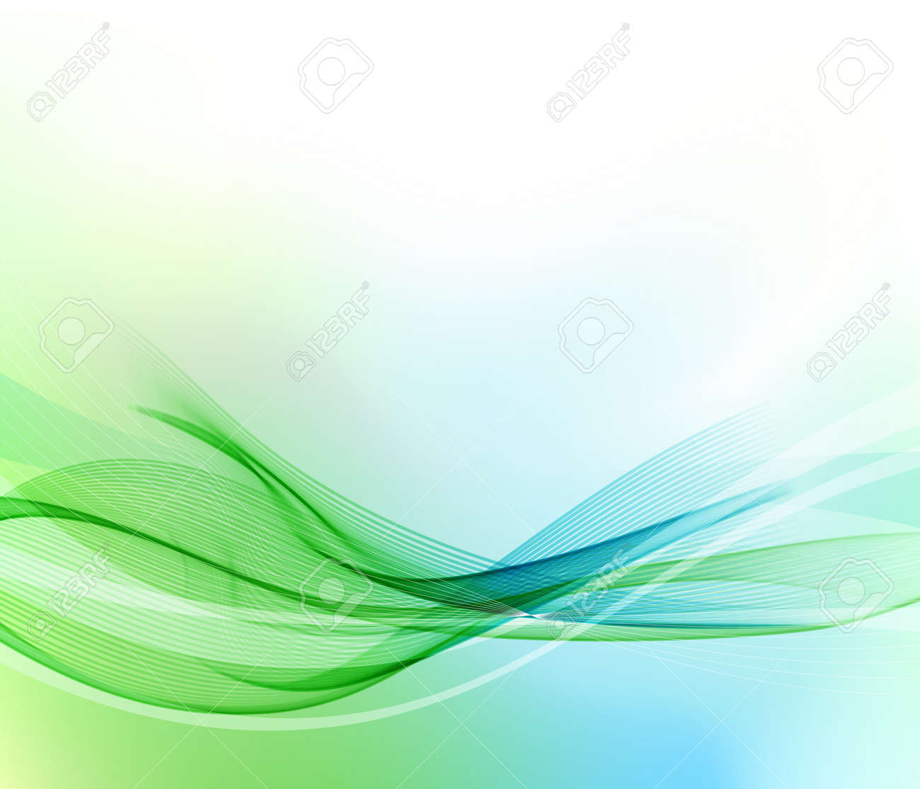 Abstract blue and green wavy lines. Colorful vector background - 56026394