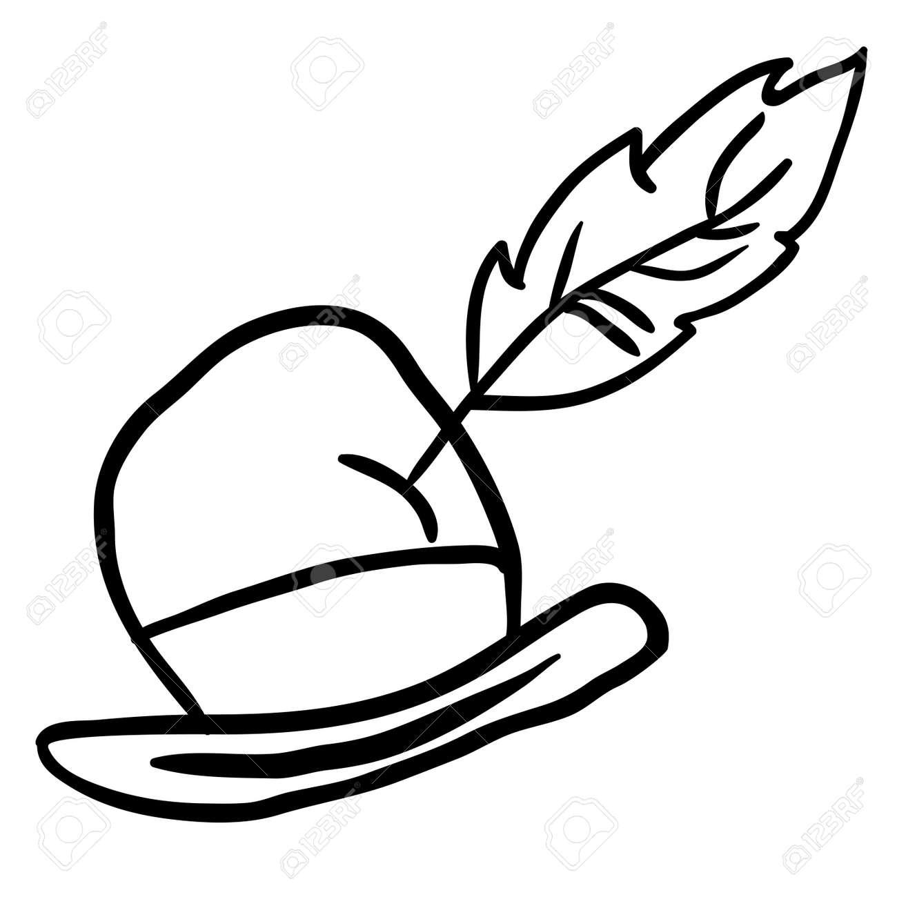 Simple Dessin Anime Chapeau Noir Et Blanc Clip Art Libres De Droits Vecteurs Et Illustration Image 55349110
