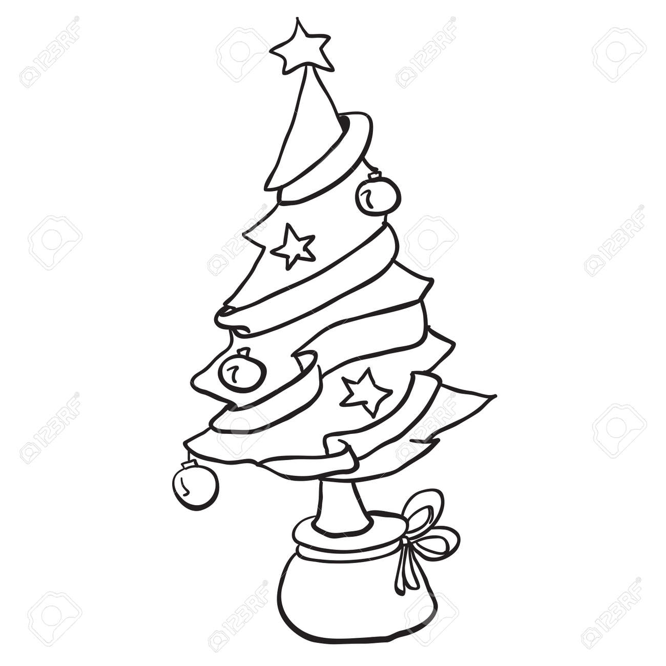 55+ Christmas Tree Cartoon Images Black And White