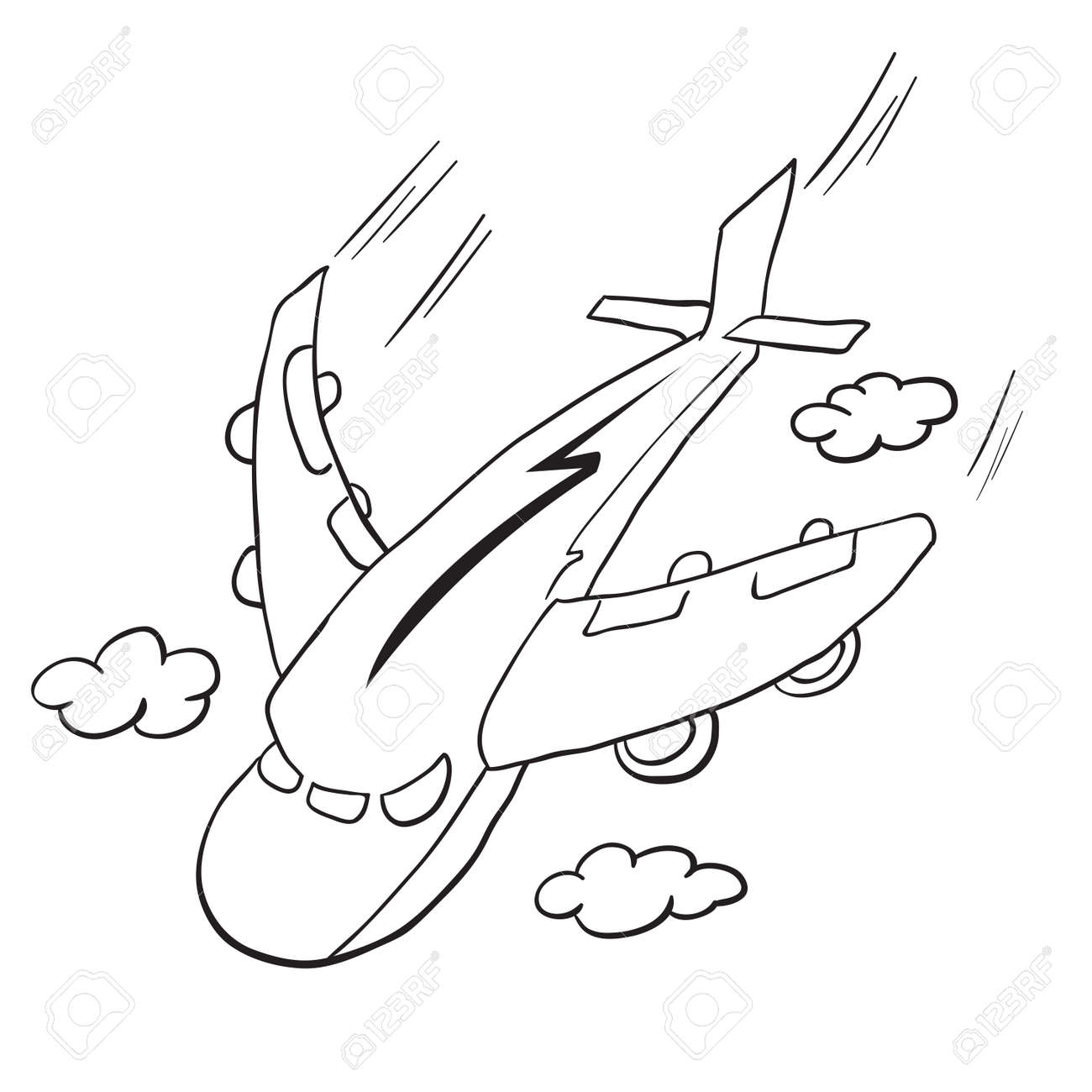 Simple Voler Dessin Anime Avion Noir Et Blanc Clip Art Libres De