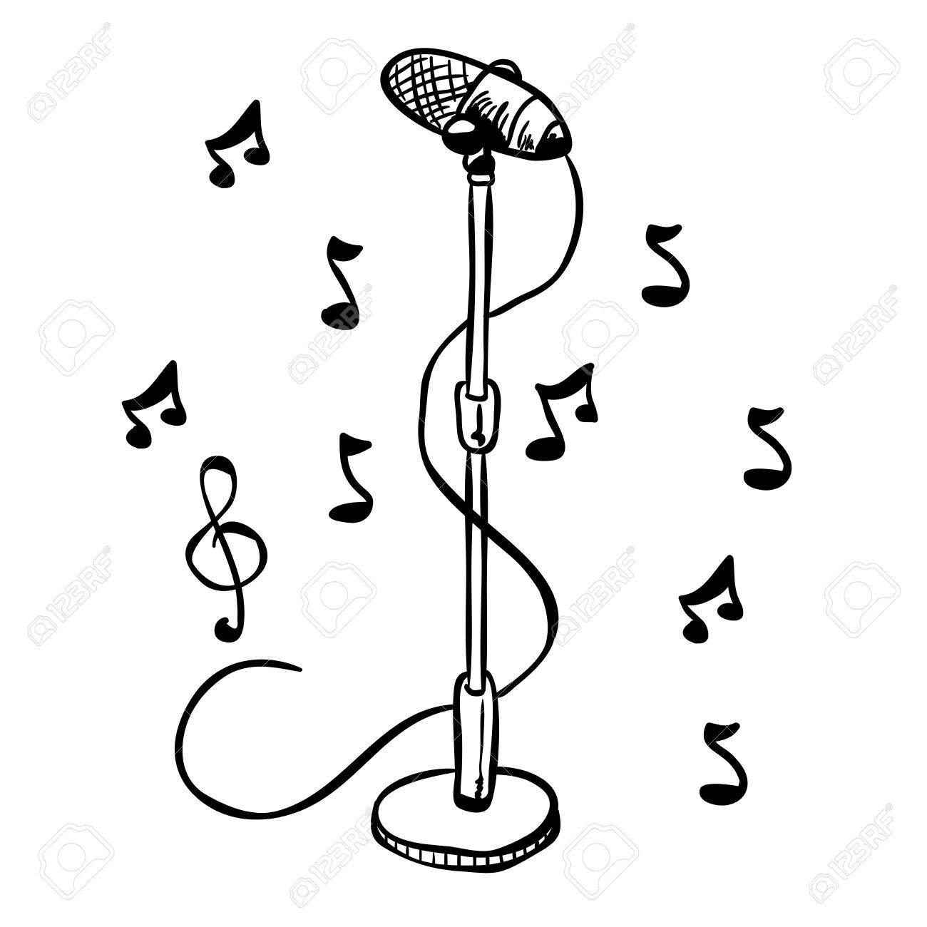 Microphone Noir Et Blanc Simple Sur Un Dessin Animé De Stand