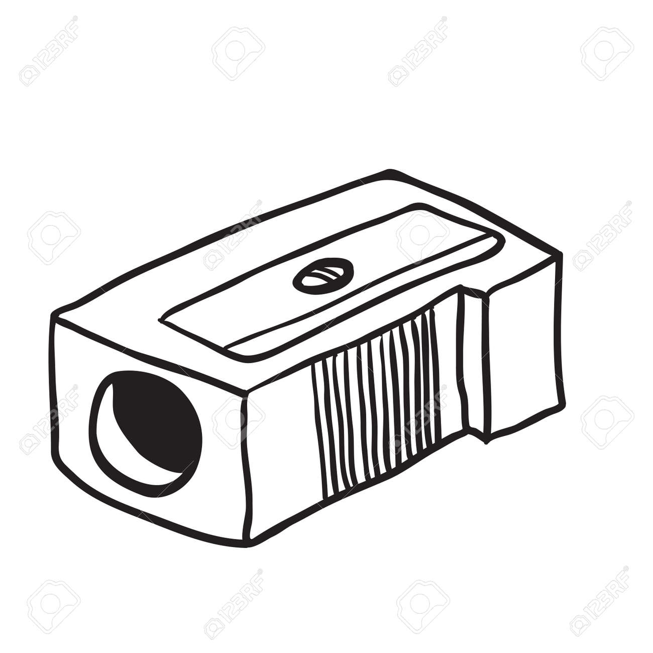 simple black and white pencil sharpener cartoon royalty free