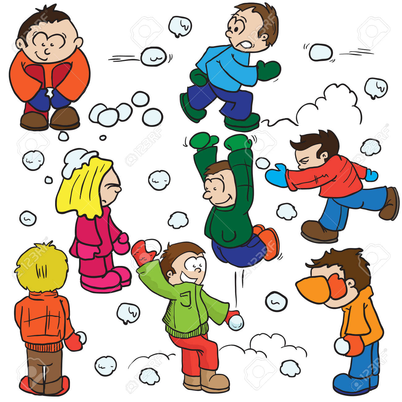 snowball fight cartoon illustration royalty free cliparts vectors rh 123rf com snowball fight clipart images snowball fight clipart images