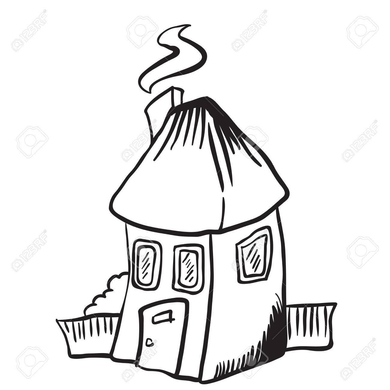 Dessin Anime Isole De Simple Petite Maison Noir Et Blanc Clip Art Libres De Droits Vecteurs Et Illustration Image 55349424