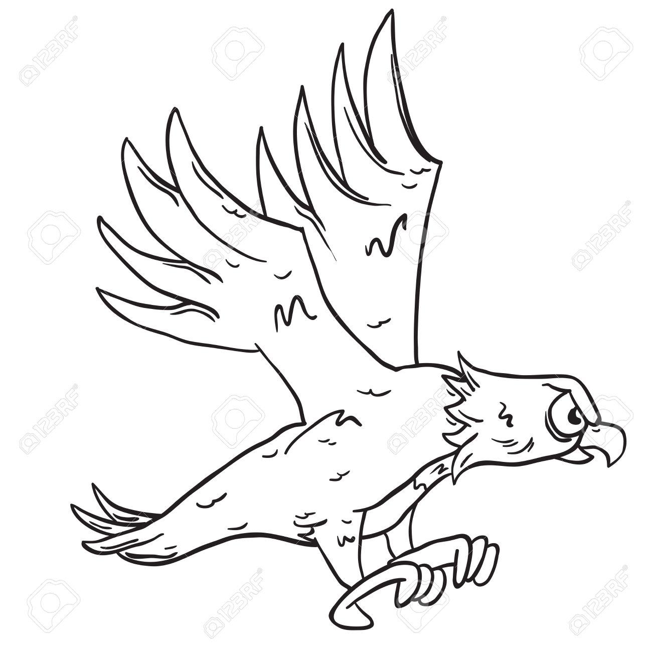 Banque dimages simple dessin animé aigle noir et blanc