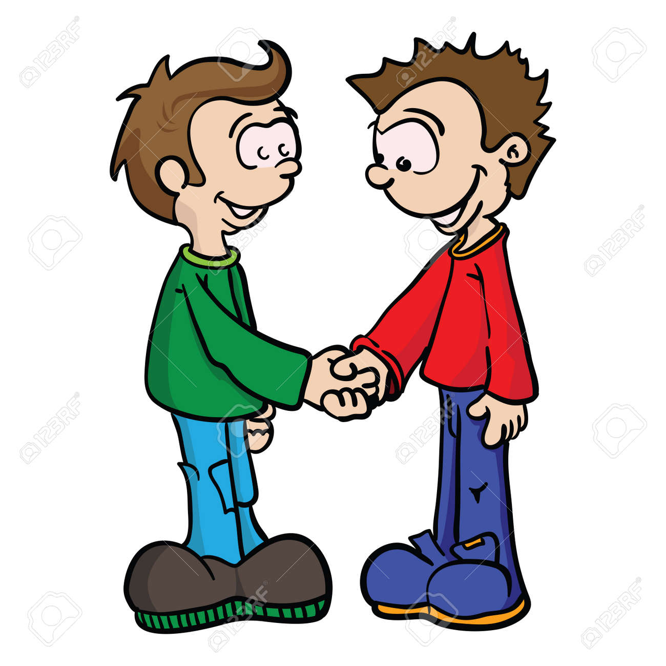 cartoon illustration of two boys shaking hands royalty free cliparts rh 123rf com shaking hands cartoon images shake hands cartoon