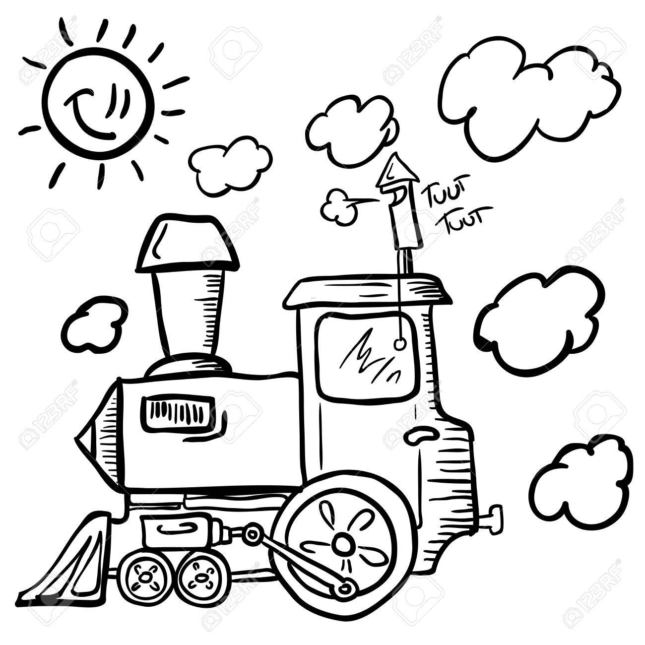 Thomas Train Coloring Pages Printable Cartoon Trains For Kids Group Child Ride Black And White Stock Vector Ilration Of Element