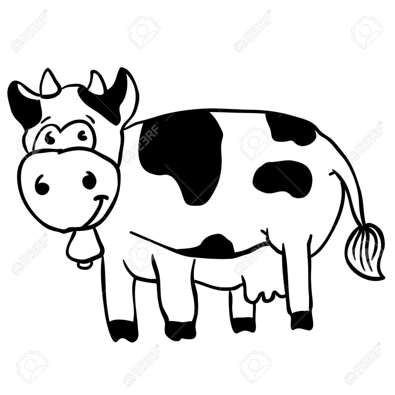 Simple black and white cow cartoon stock vector 55349611