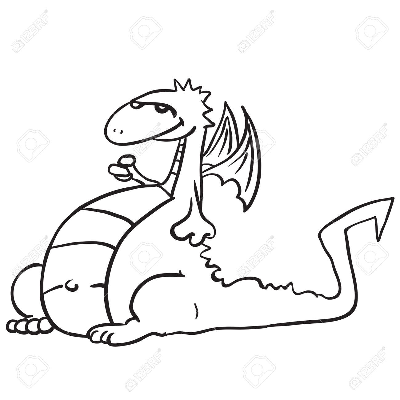 Simple Black And White Dragon Cartoon Royalty Free Cliparts Vectors And Stock Illustration Image 55349637