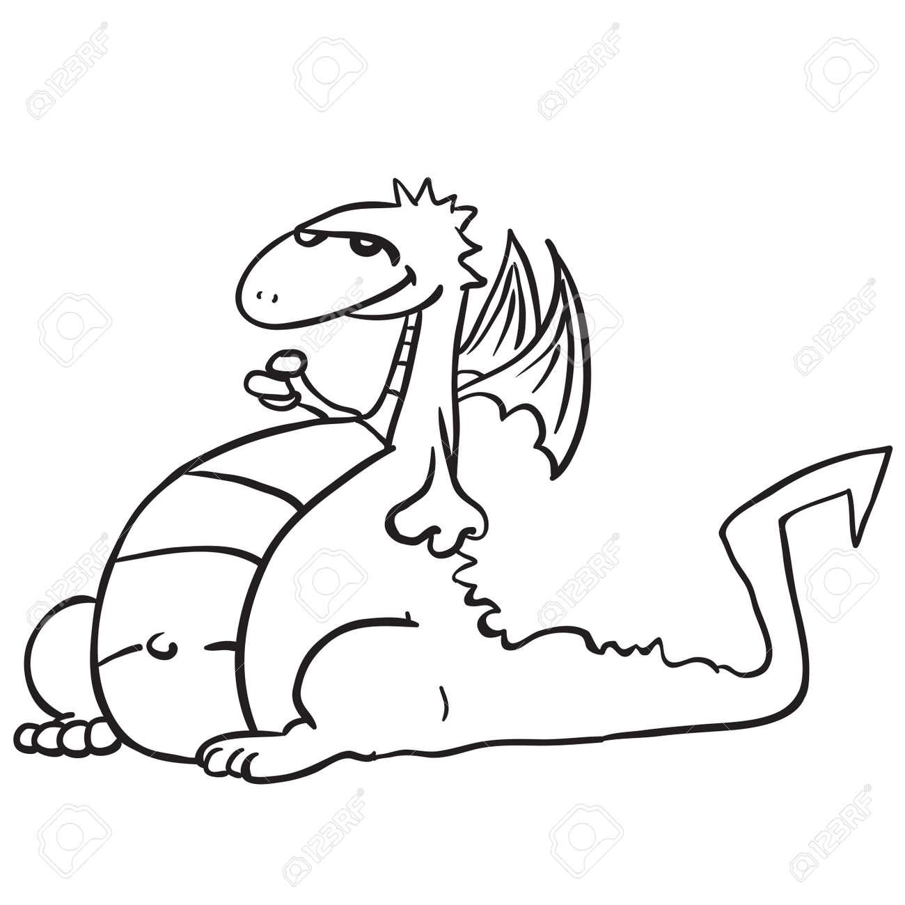 Simple Dessin Anime Dragon Noir Et Blanc Clip Art Libres De Droits Vecteurs Et Illustration Image 55349637