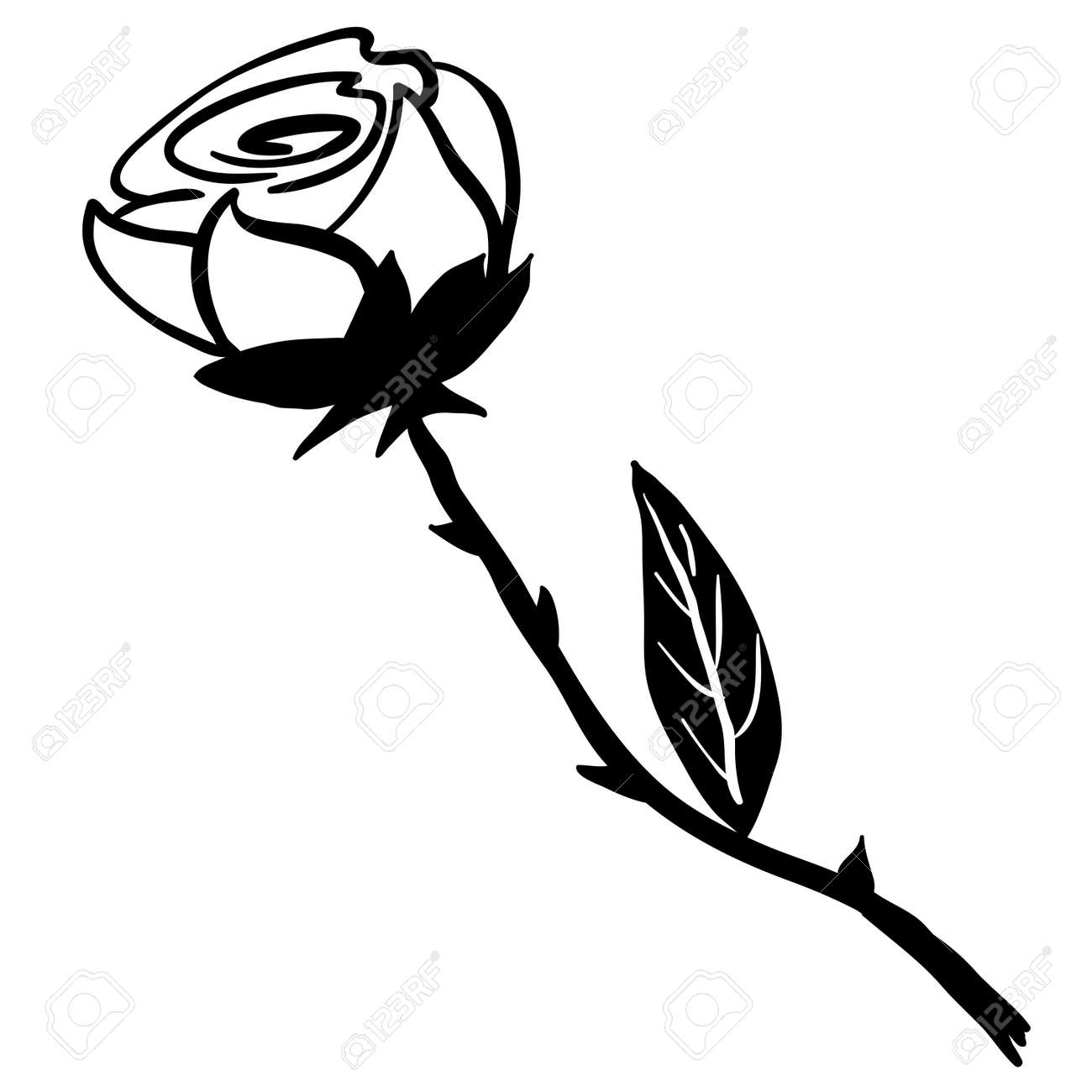 Simple black and white rose cartoon stock vector 55349662