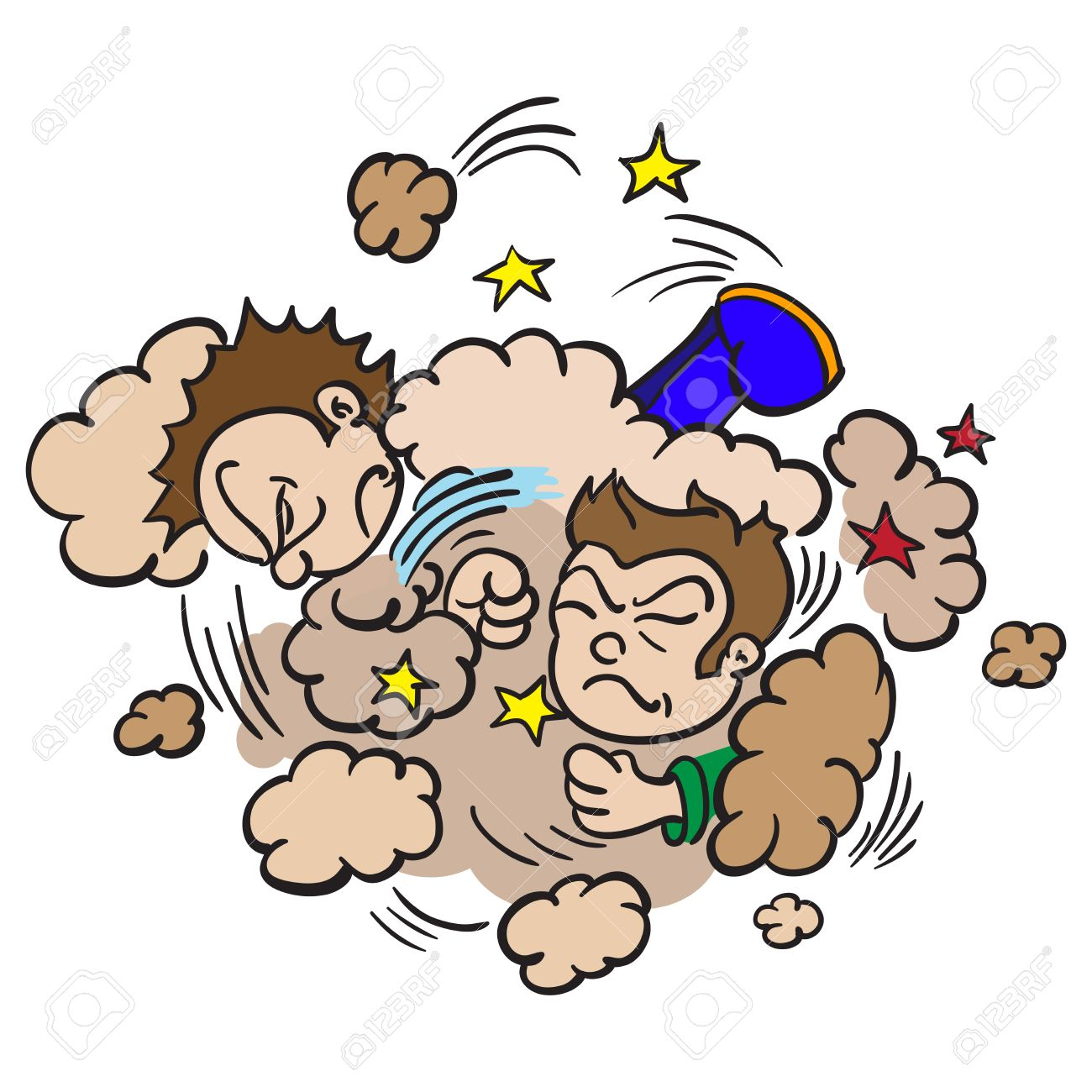 Ilustración De Dibujos Animados De Dos Niños Luchando En Una Nube De