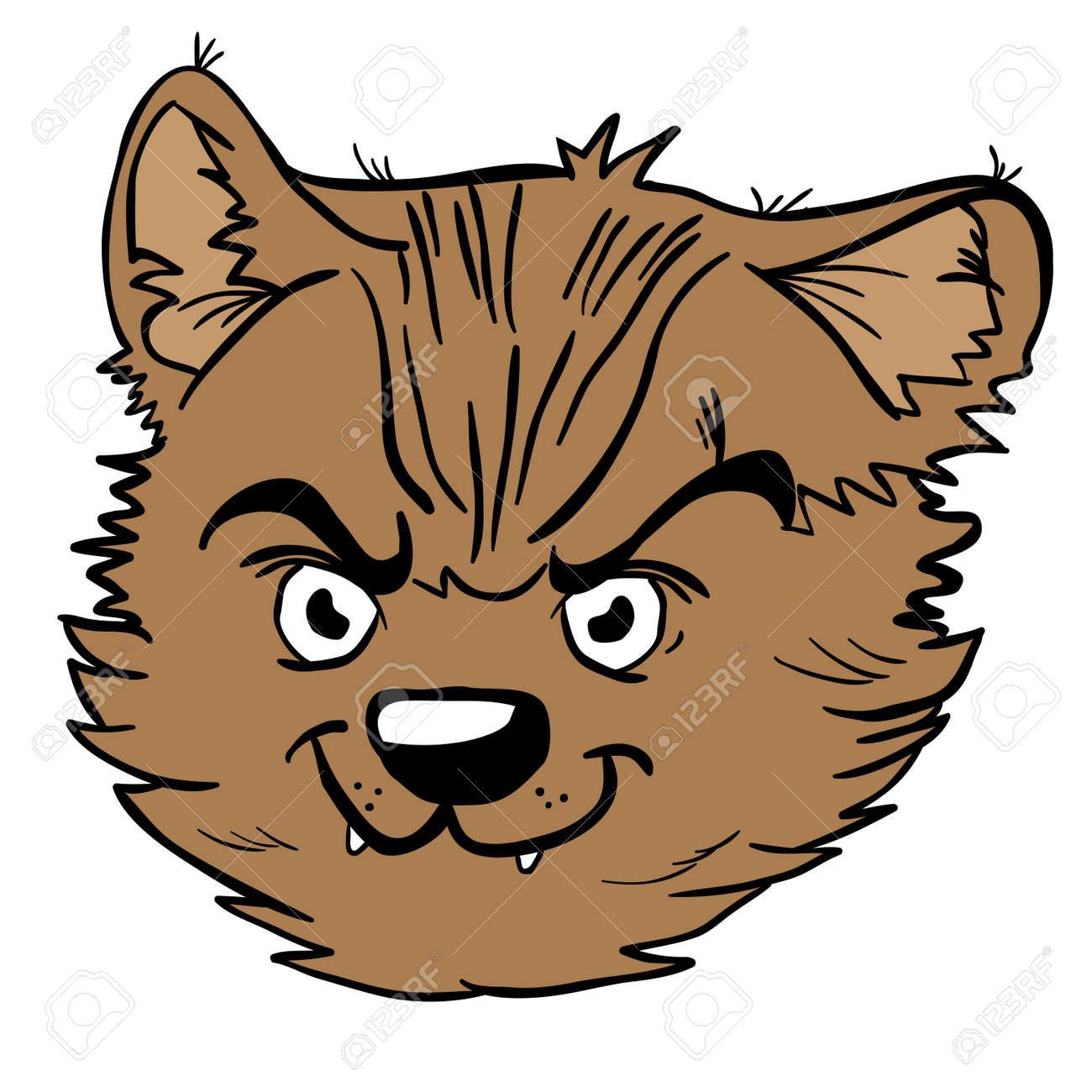 Ilustracao Dos Desenhos Animados De Gato Bravo Isolada No Branco