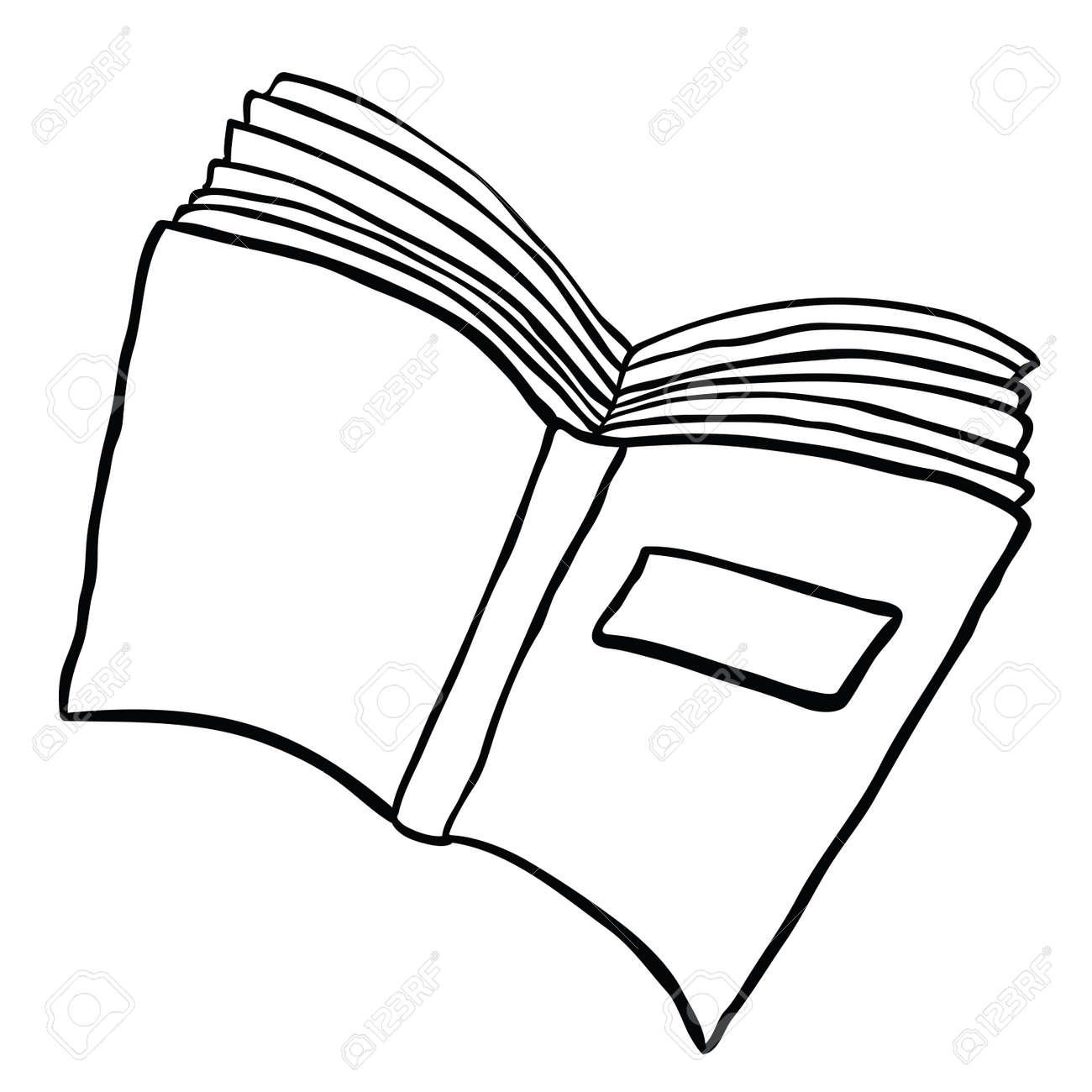 Livre Ouvert Illustration De Dessin Anime Noir Et Blanc Isole Sur Blanc