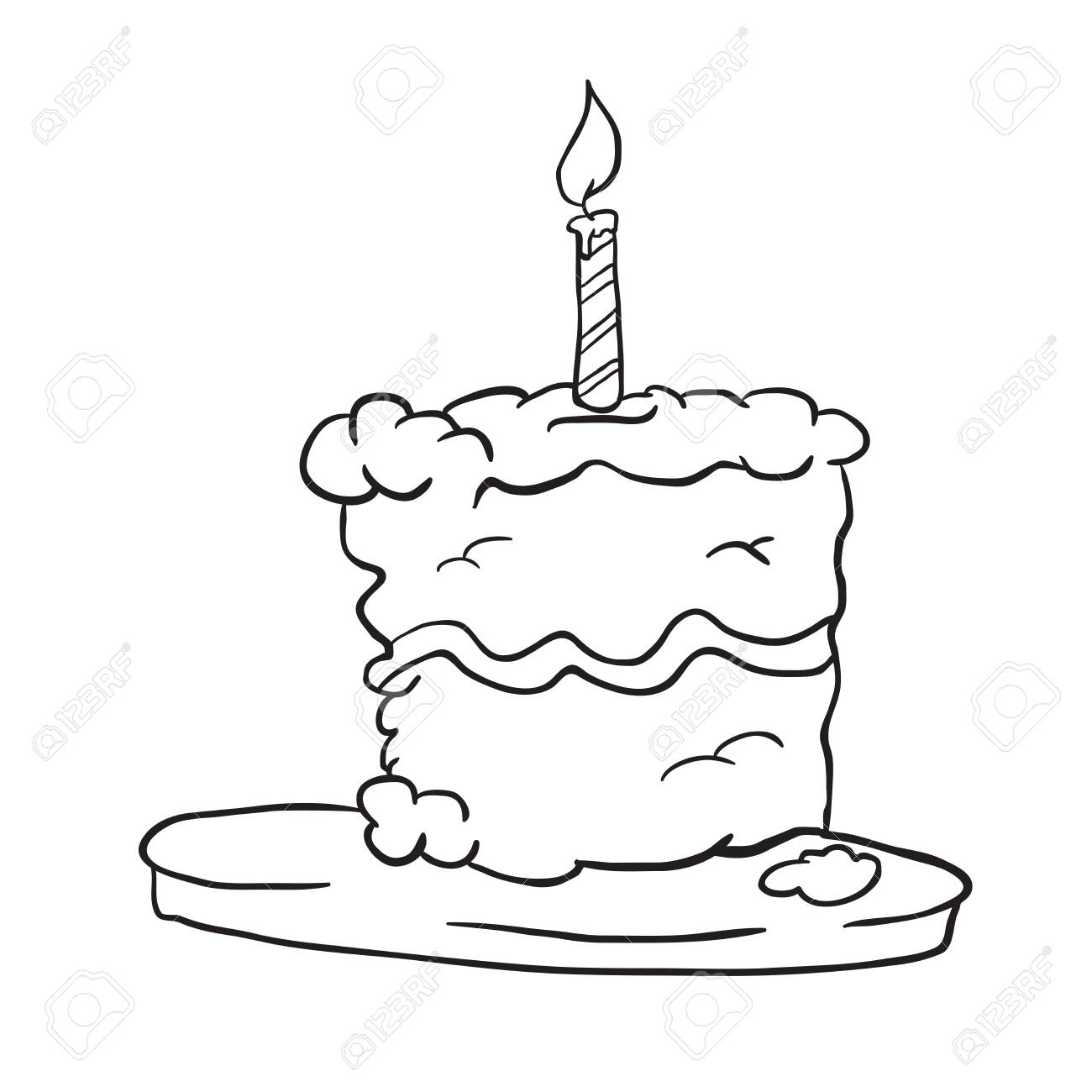 Birthday Cake Cartoon Black And White Download Wallpaper