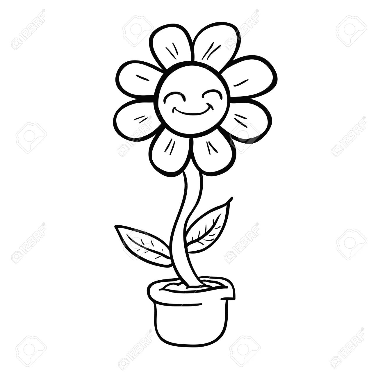 Cartoon Happy Flower In A Pot Black And White Illustration Royalty