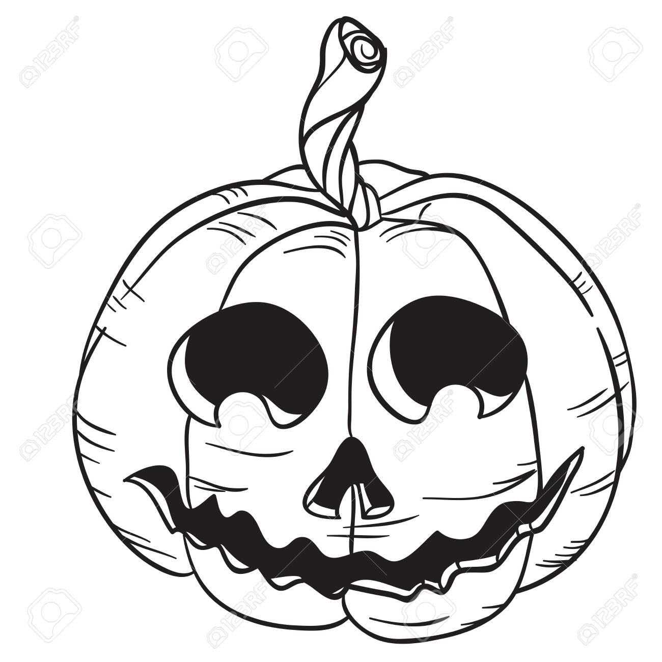 Halloween Pumpkin Black And White Cartoon Illustration Isolated