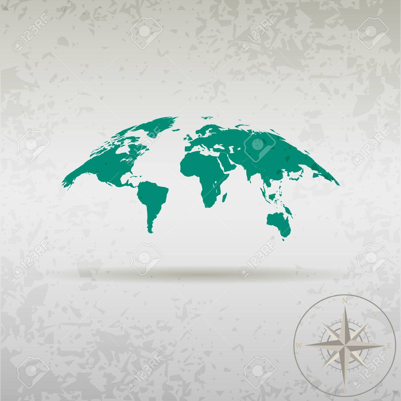 Map Of The World With Compass.Map Of The Earth With A Compass In A Stylish Design Royalty Free