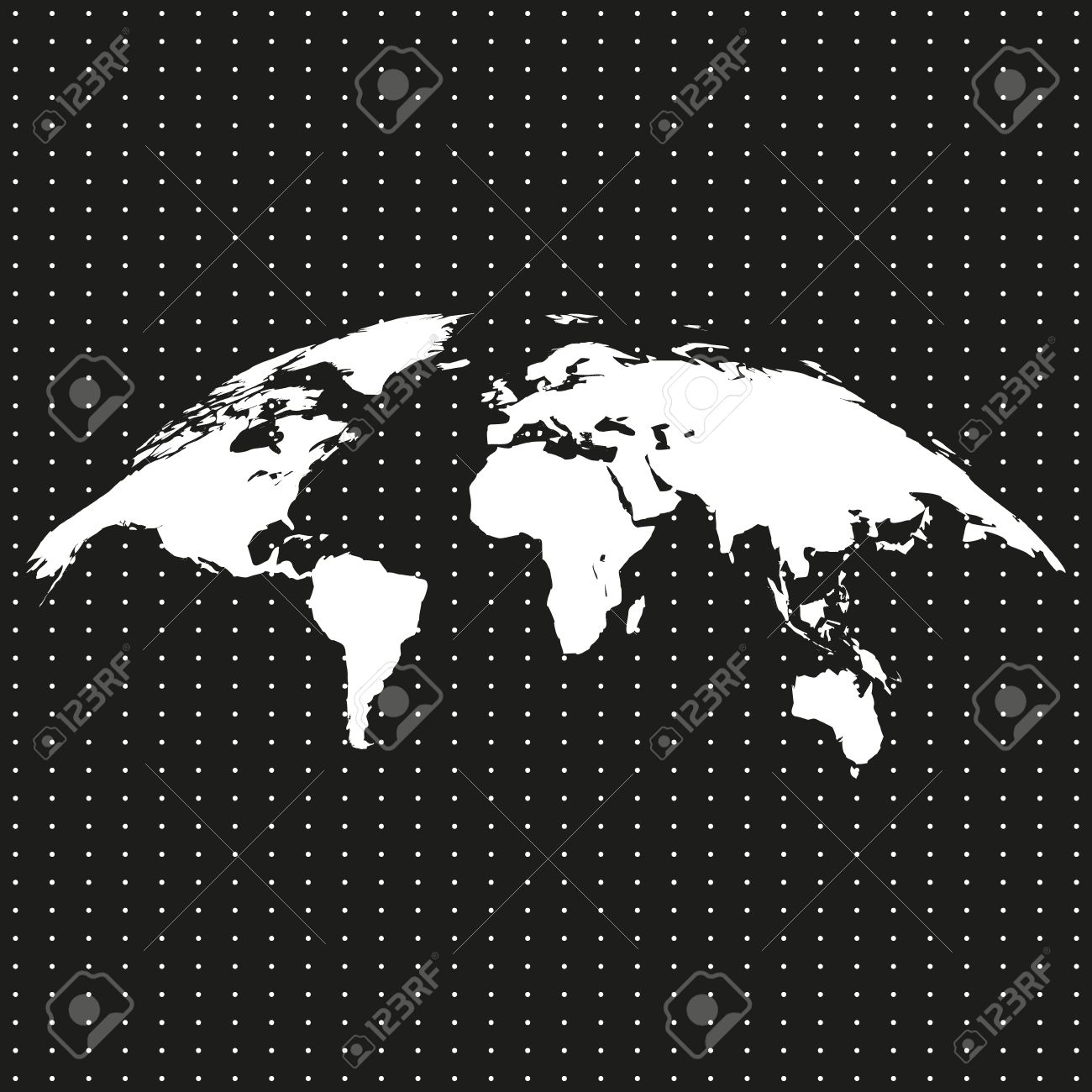 Bent twisted world map on a black background with white dots bent twisted world map on a black background with white dots stock vector gumiabroncs Images