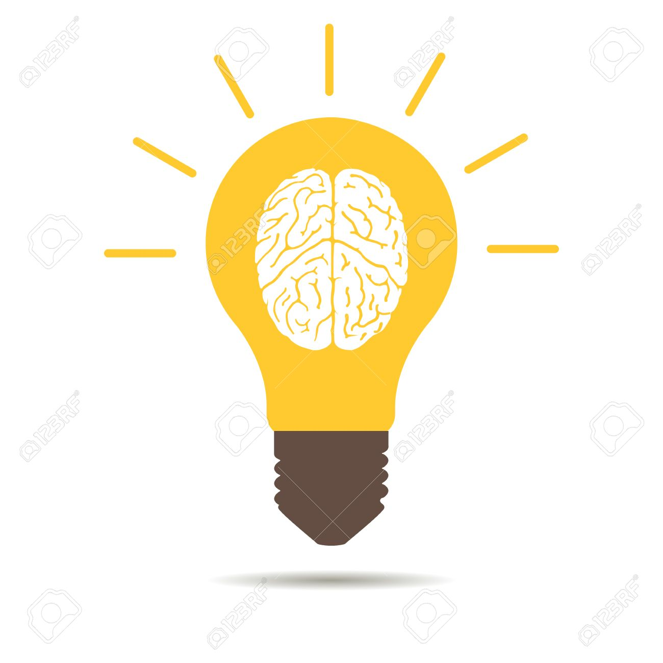Light Bulb Brain Icon On A White Background Stock Vector   47833097 Amazing Ideas