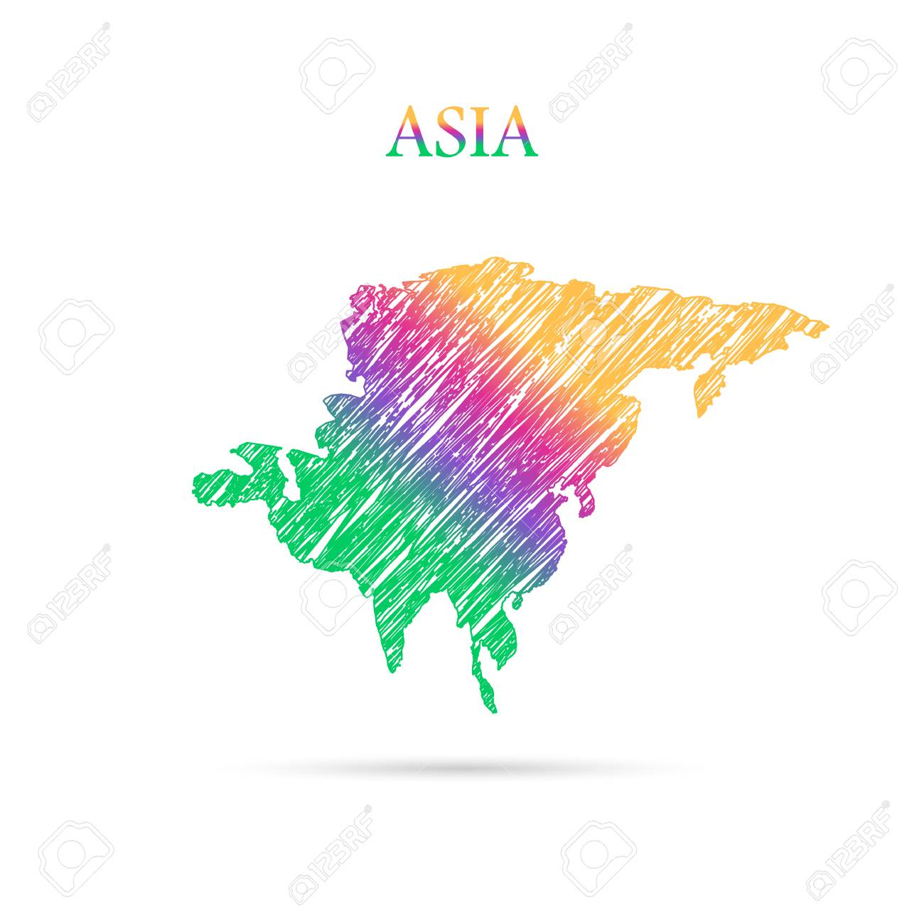Continent Of The World Draw In Colors Stock Vector   50591794