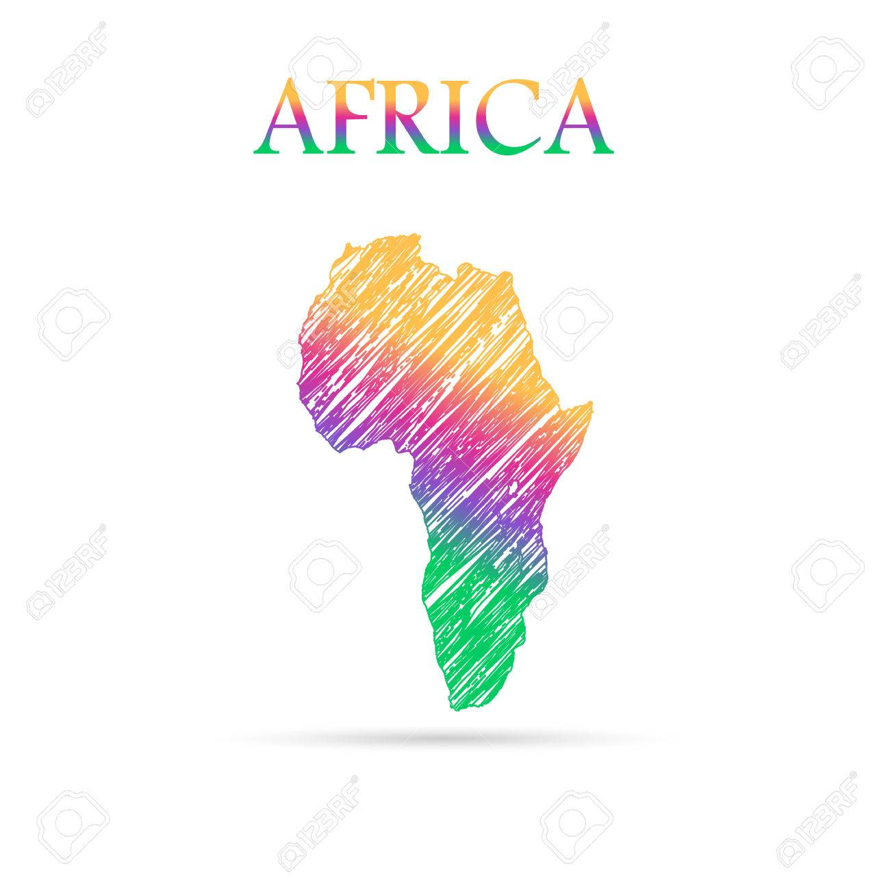 Continent Of The World Draw In Colors Stock Vector   50591799