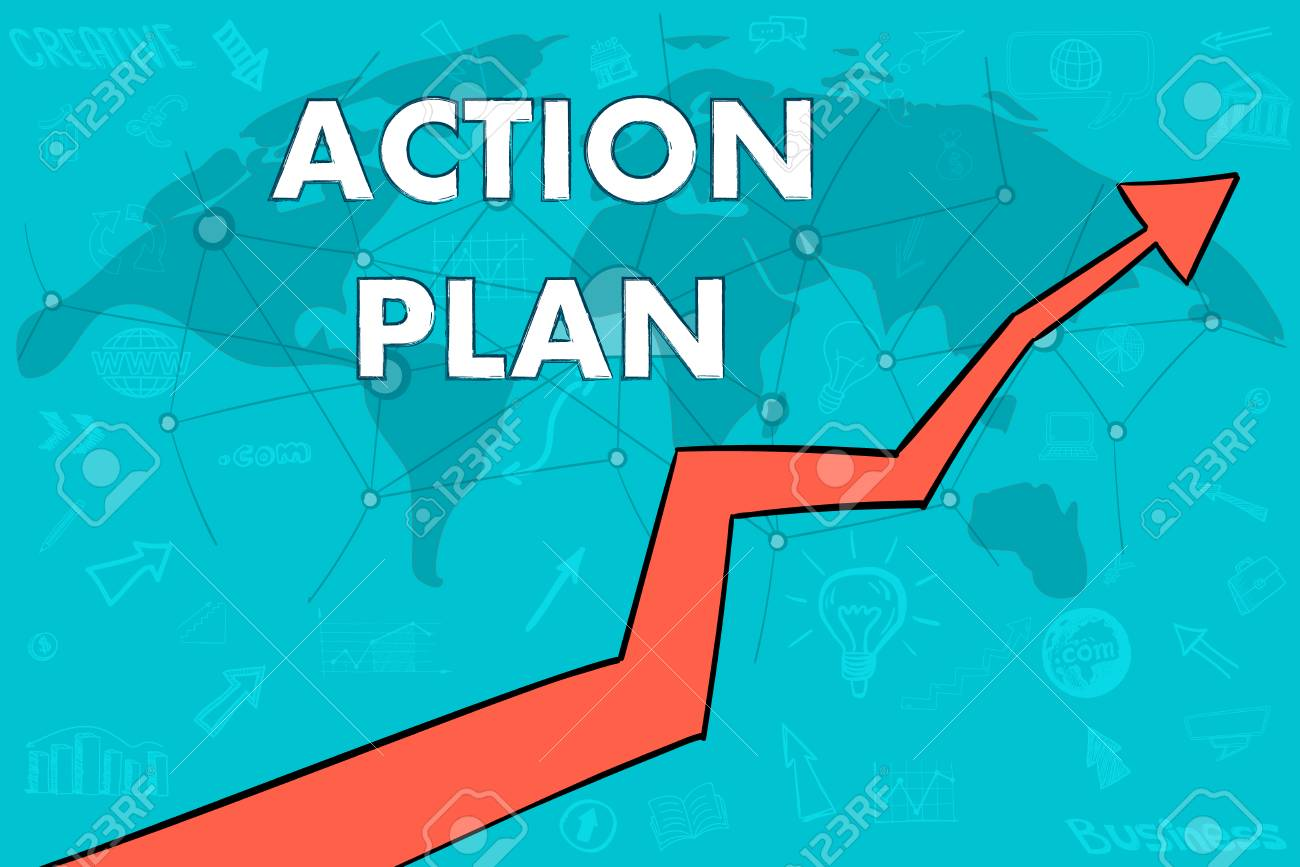 Action Plan Banner Cloud Concept World Map Arrow Up Illustration