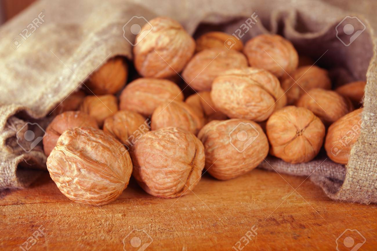 walnuts in rough canvas bag Stock Photo - 6522639