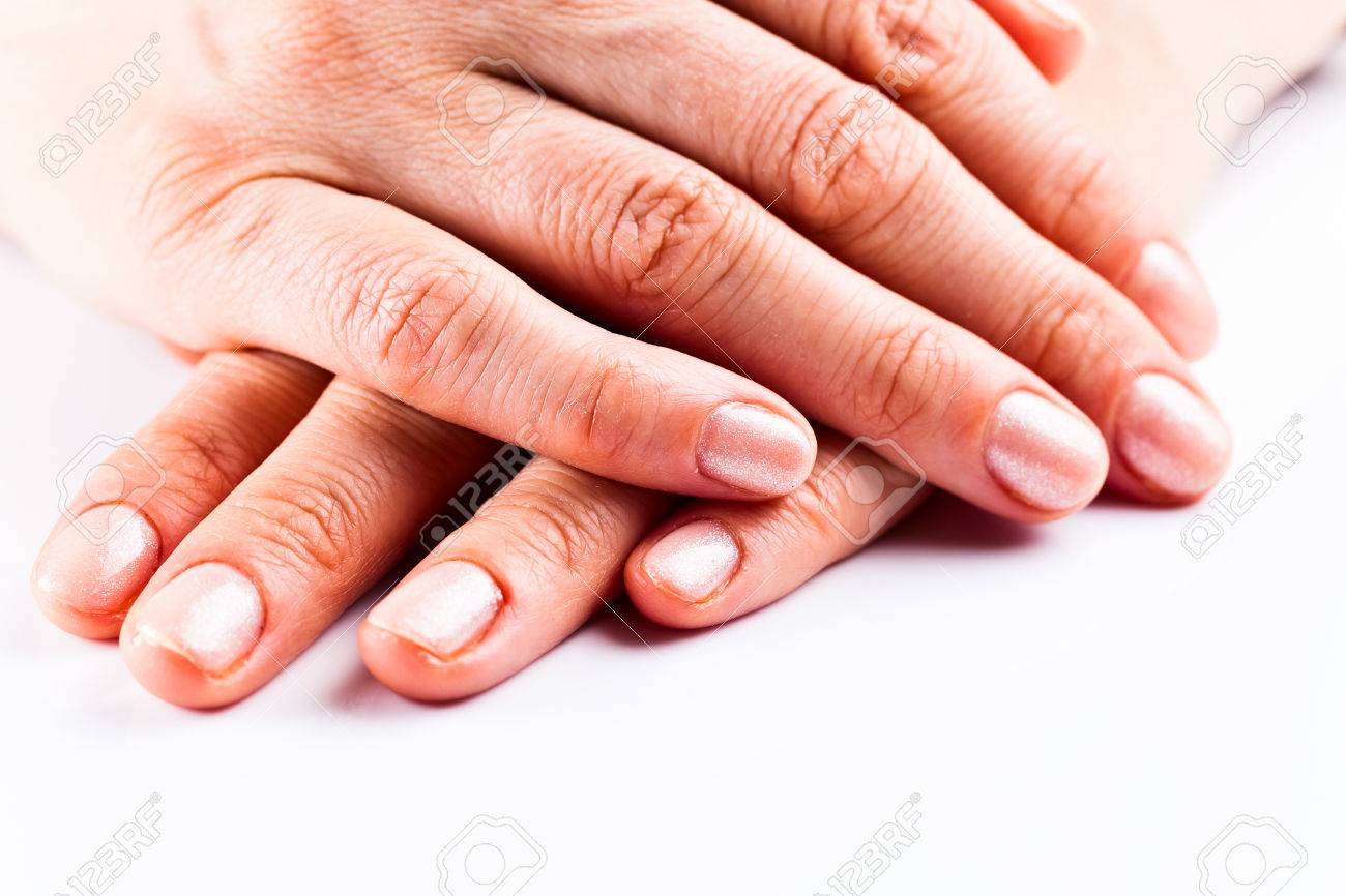 Female Hand With Manicure On Short Nails Stock Photo, Picture And ...