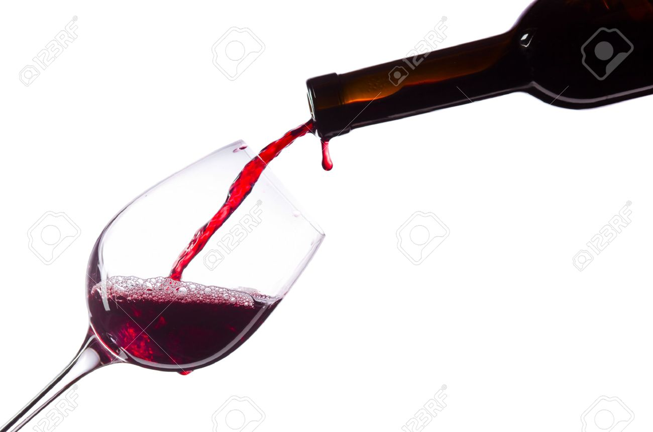 Red wine in wineglass on white background - 51524780