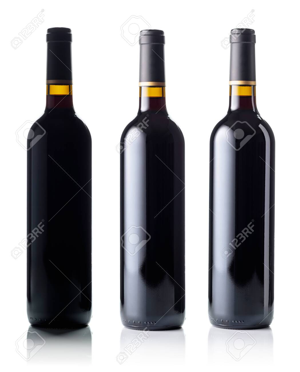 Red wine bottle isolated on white background. - 138829990