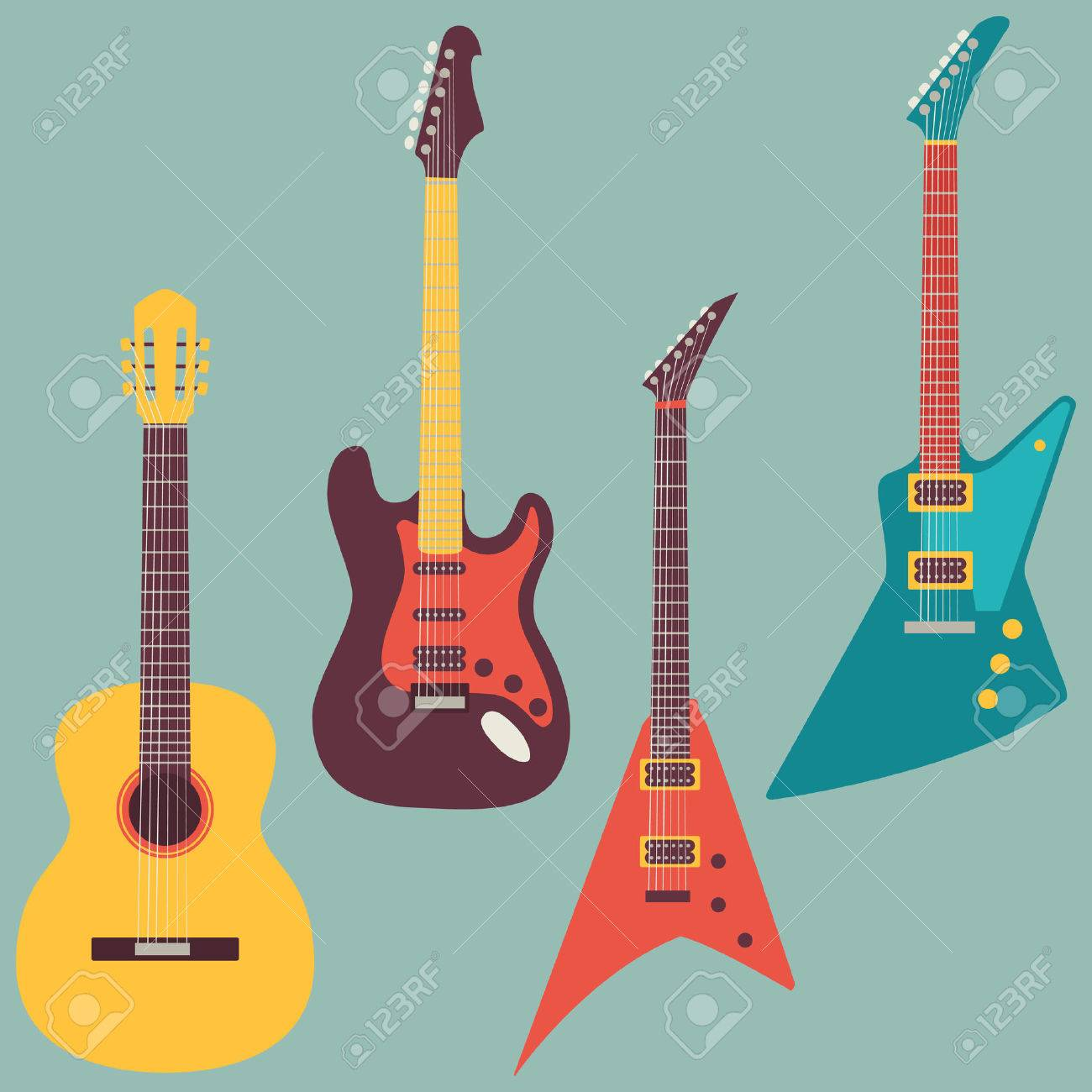 acoustic and electric guitars set - 35567805