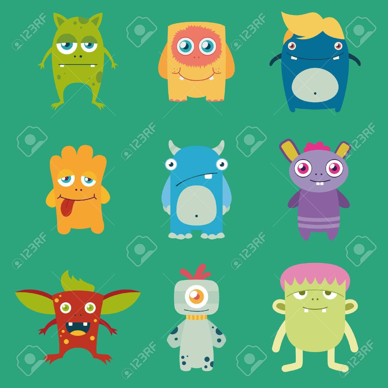 set of cute freaky monsters - 35567878