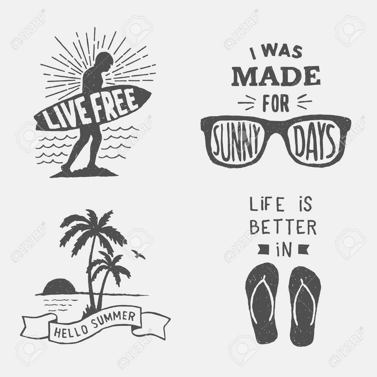Set Of Summer Hand Drawn Typography Posters Emblems And Quotes Artworks For Wear