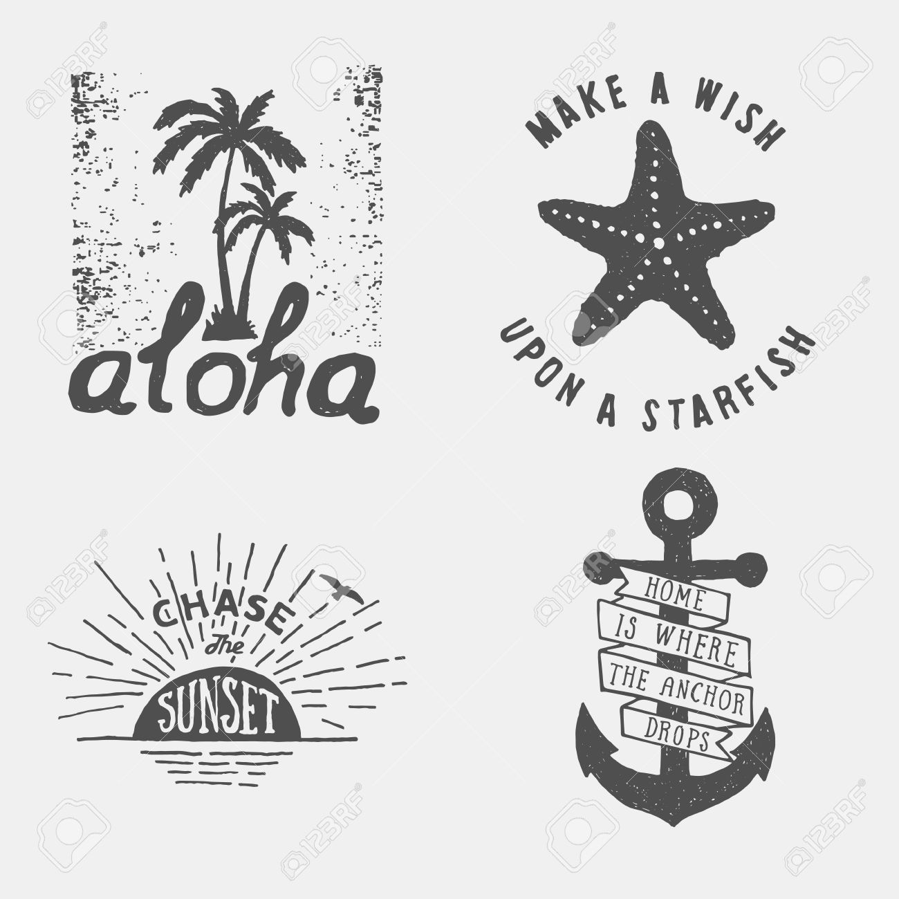 set of summer hand drawn typography posters, emblems and quotes. artworks for wear. vector inspirational illustration - 42584387