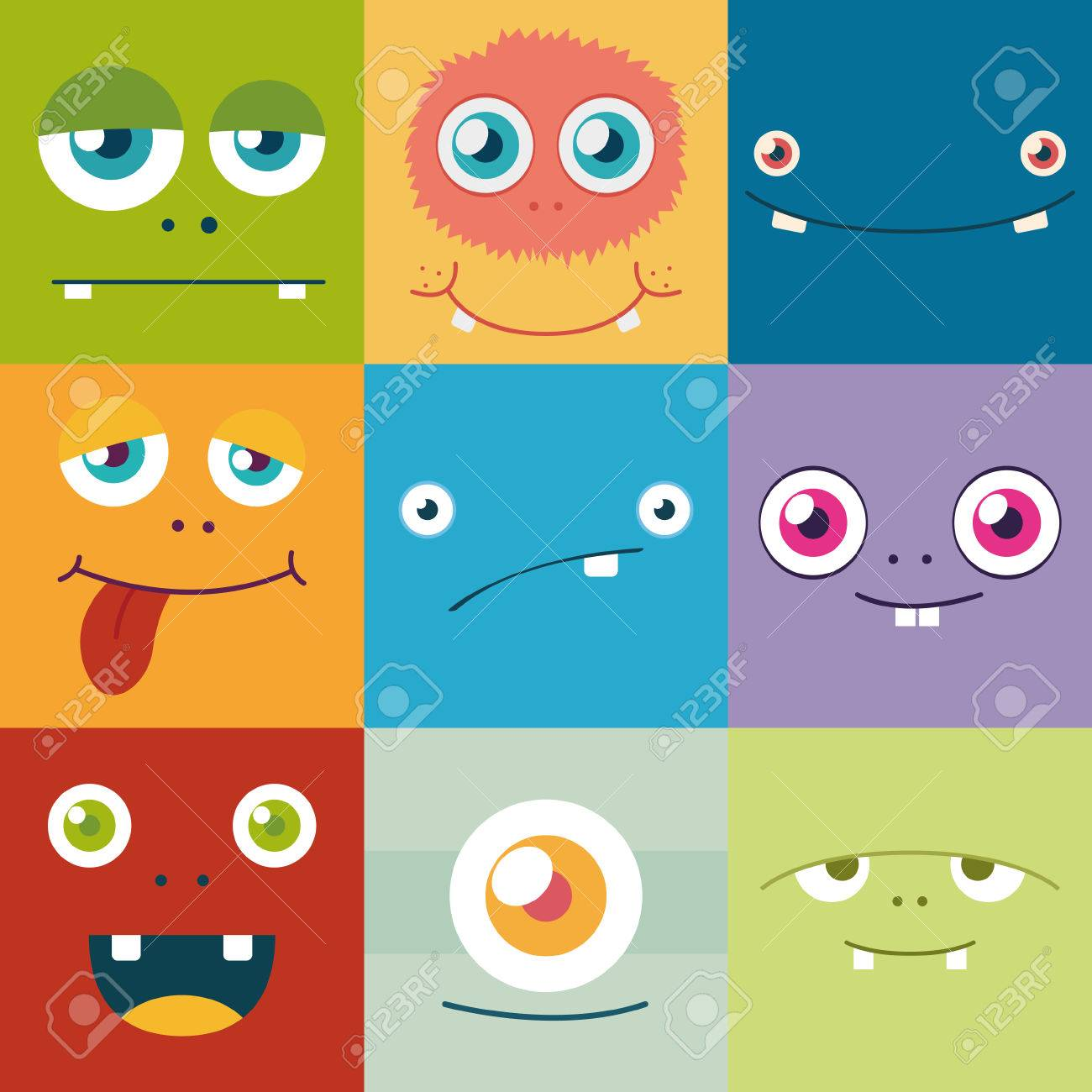 cartoon monster faces vector set. cute square avatars and icons - 42584400