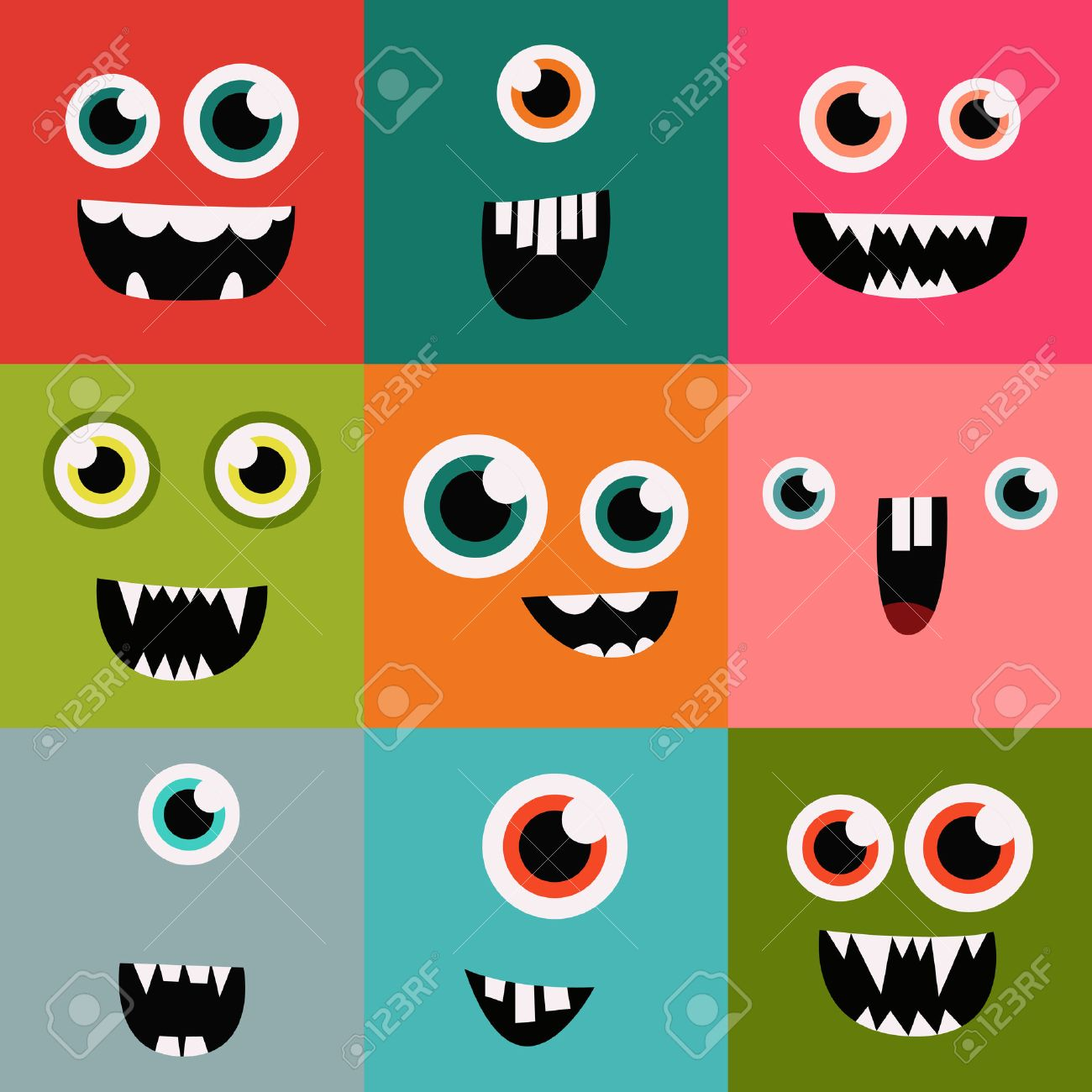 cartoon monster faces vector set. cute square avatars and icons - 42584402