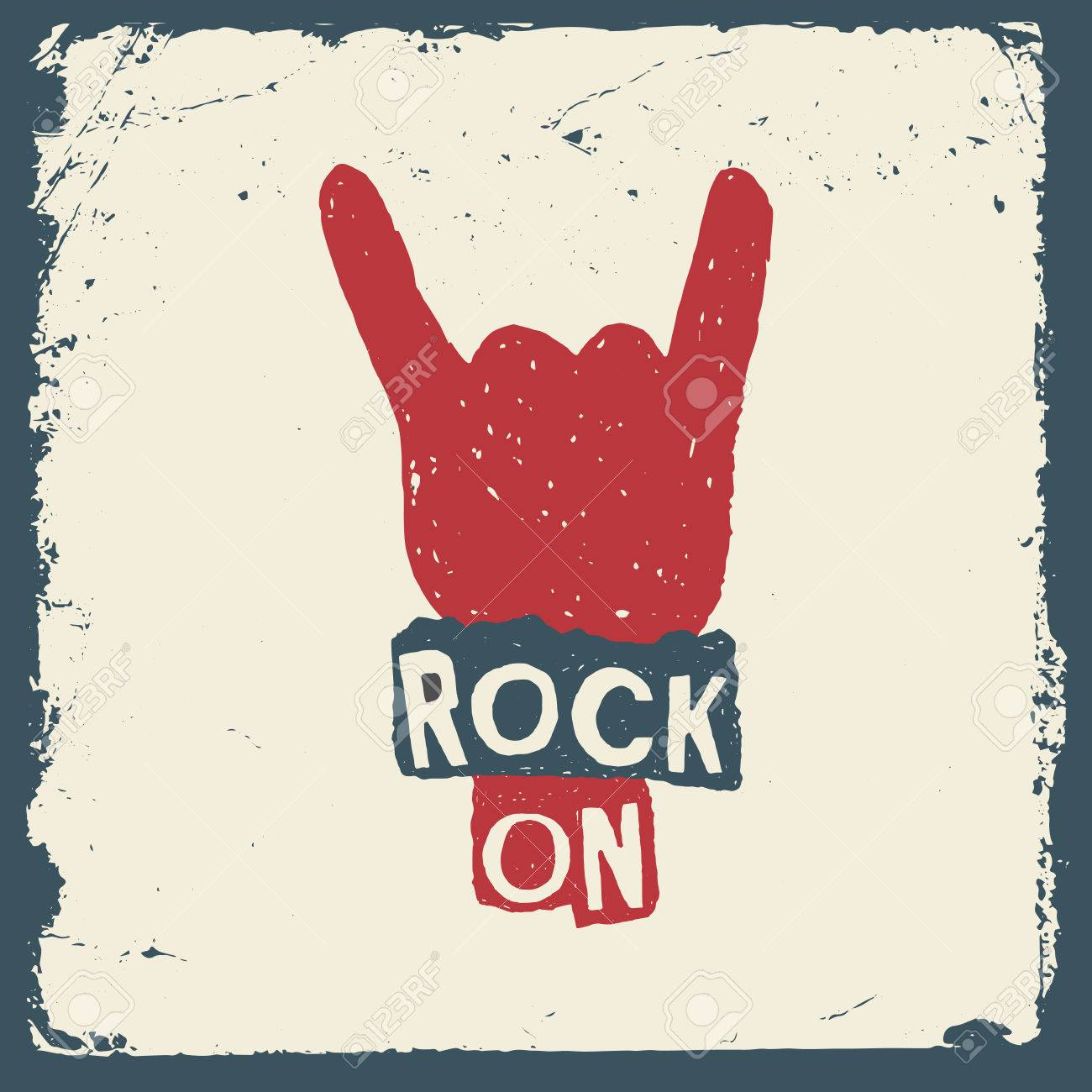 music hand drawn typography poster with sign of the horns. rock on. artwork for wear. vector illustration on grunge background - 42584404