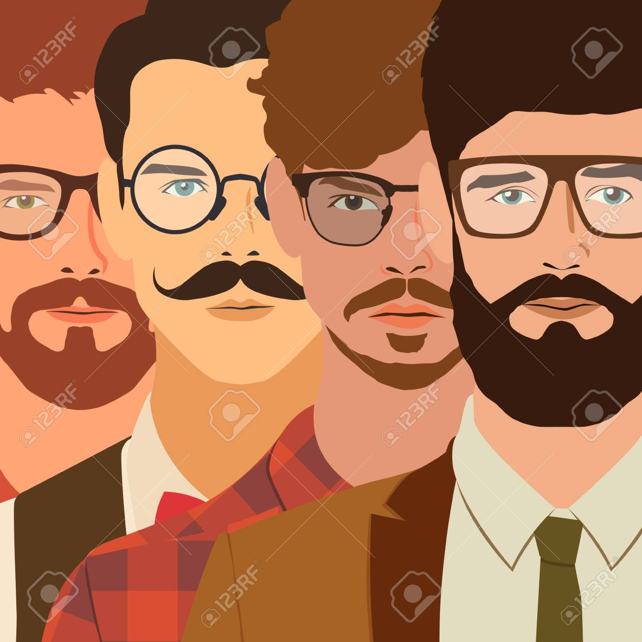 flat hipster characters. stylish young guys with glasses background. vector illustration. eps10 - 42584405