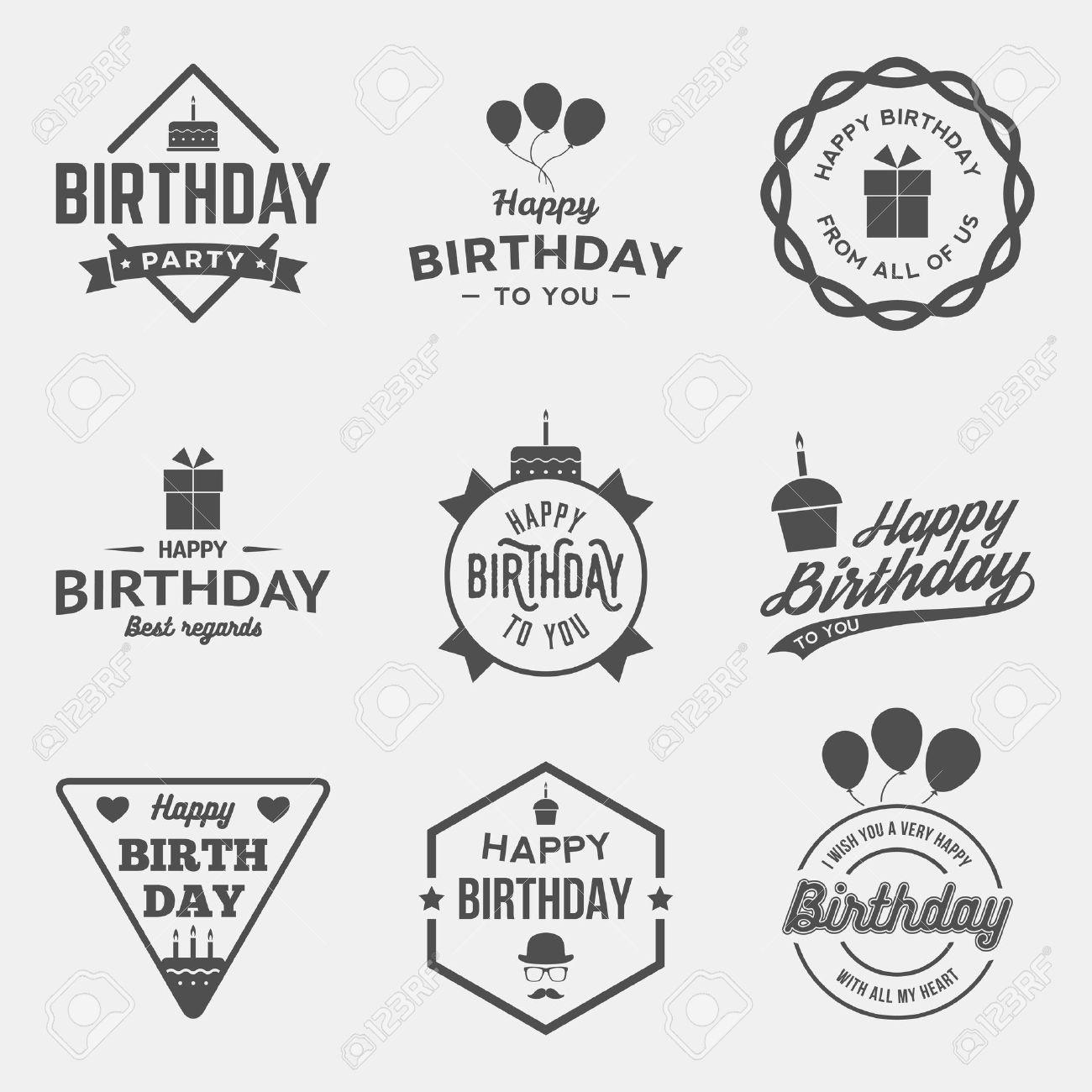 happy birthday vintage labels set. vector illustration - 42584411