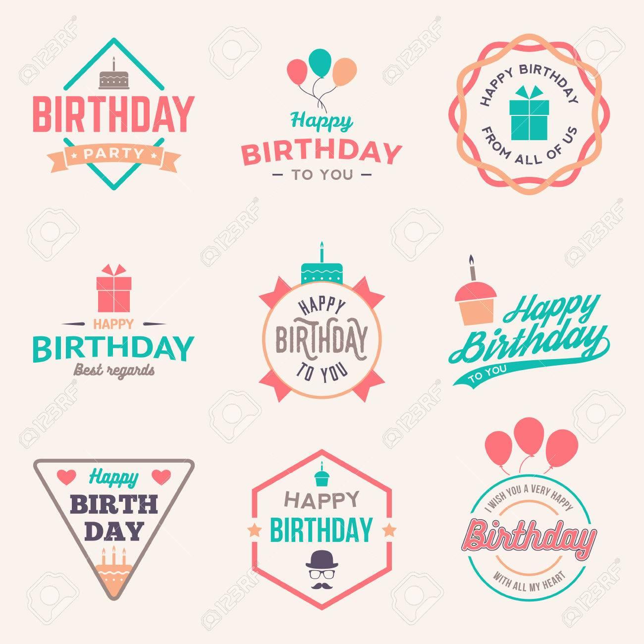 happy birthday vintage labels set. vector illustration - 42584416