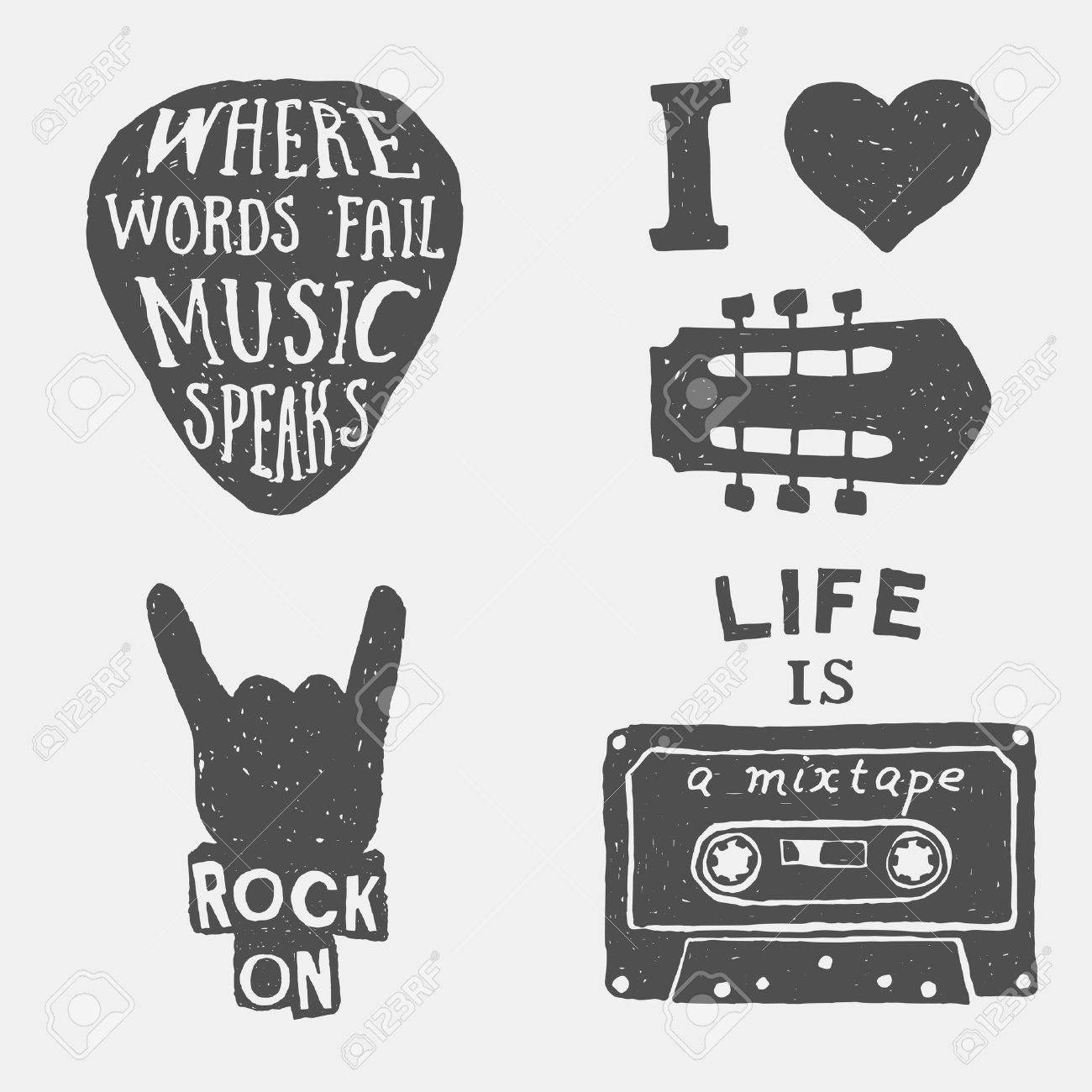 set of music hand drawn typography posters, emblems and quotes. artworks for wear. vector inspirational illustration - 42584426